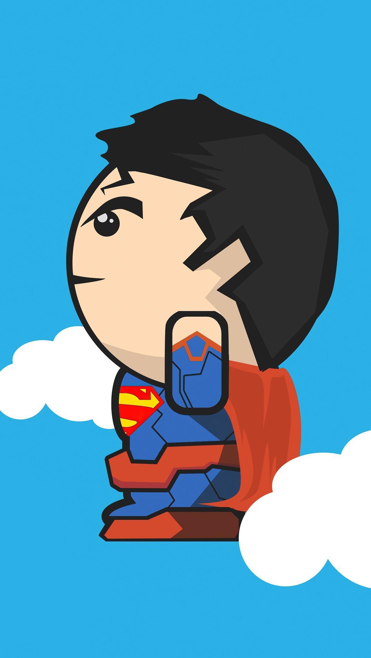 Fondos de pantalla Superman en las nubes minimalista Vertical