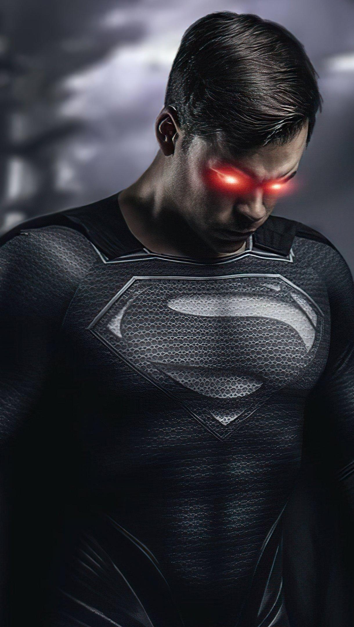 Fondos de pantalla Superman en traje negro y ojos rojos Vertical