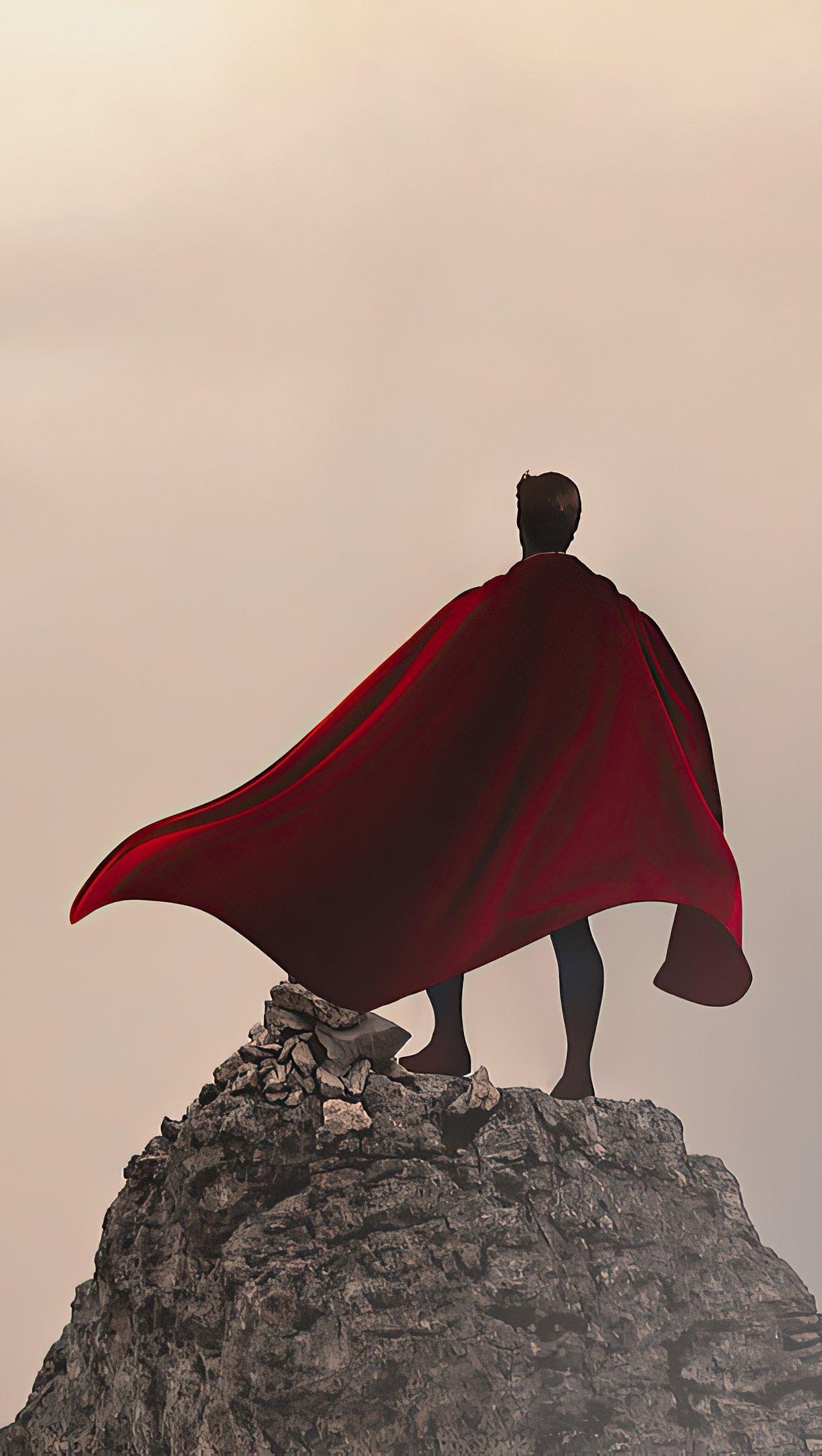 Wallpaper Superman over mountain infront of mist Vertical