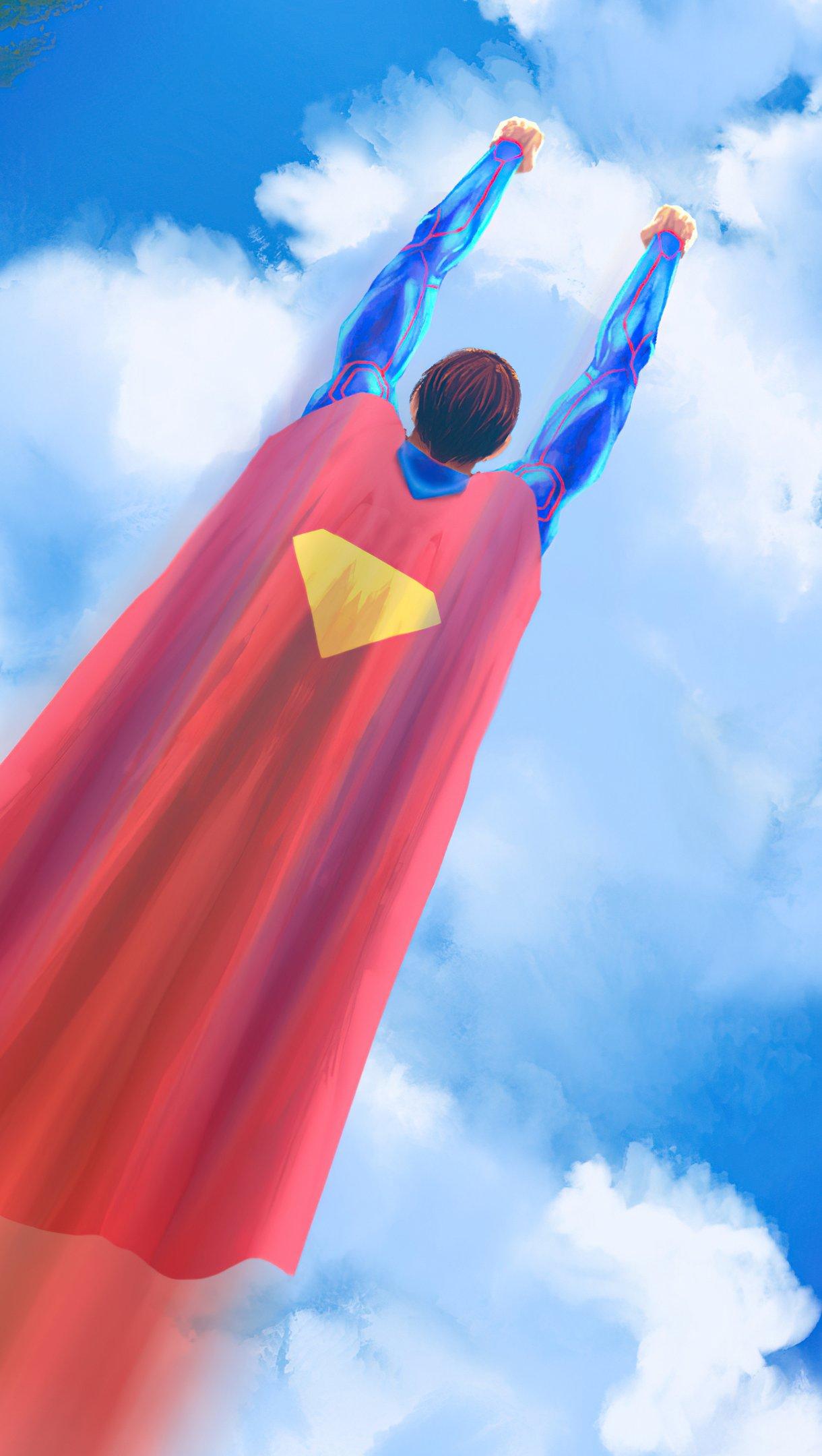 Wallpaper Superman flying Digital Art Vertical