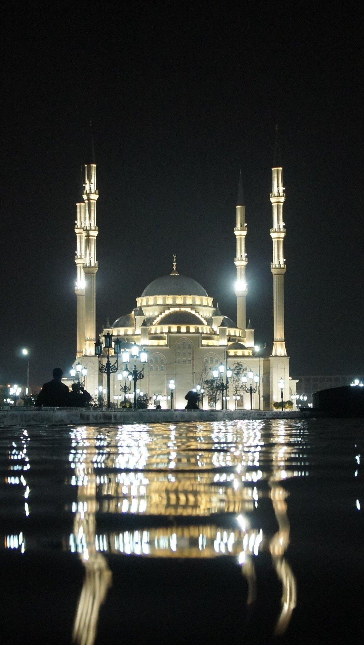 Fondos de pantalla Taj Mahal de noche Vertical
