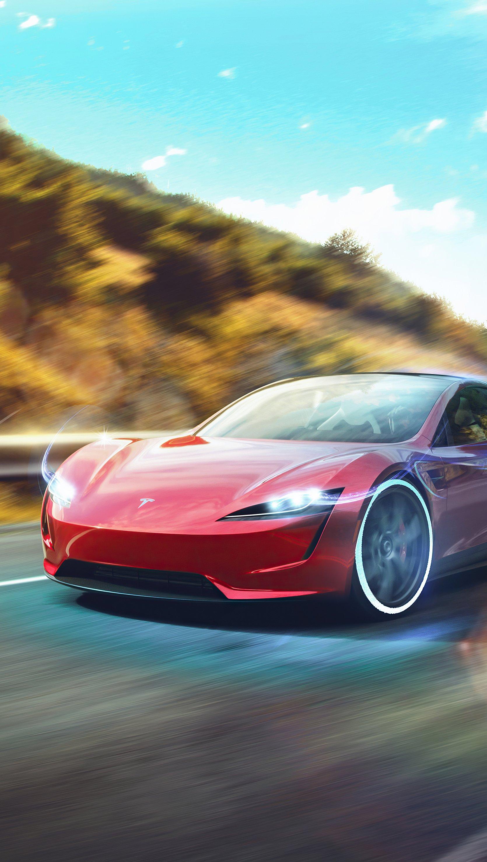 Wallpaper Tesla Roadster Vertical