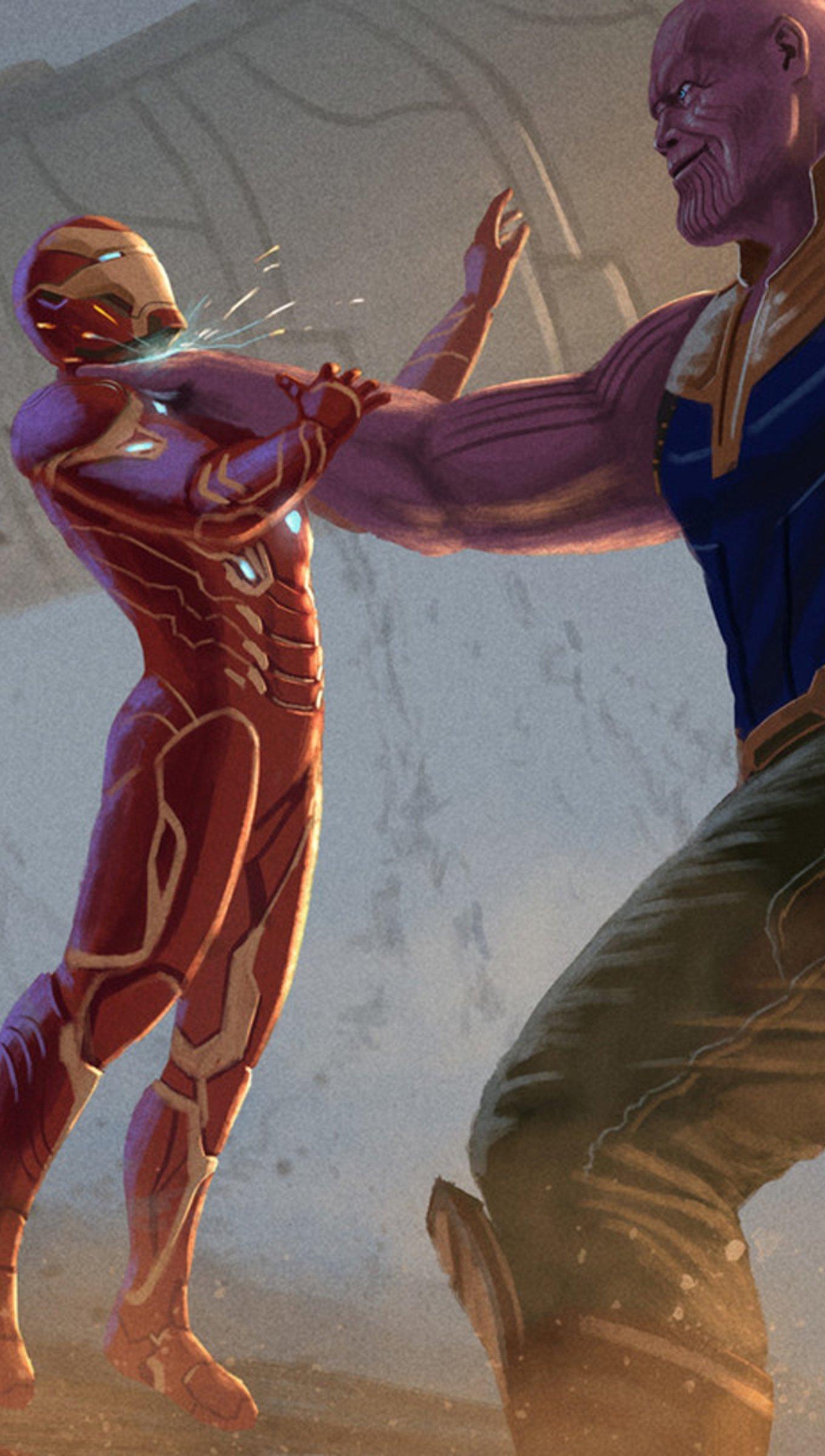 Fondos de pantalla Thanos atacando a Iron Man en Infinity war fanart Vertical
