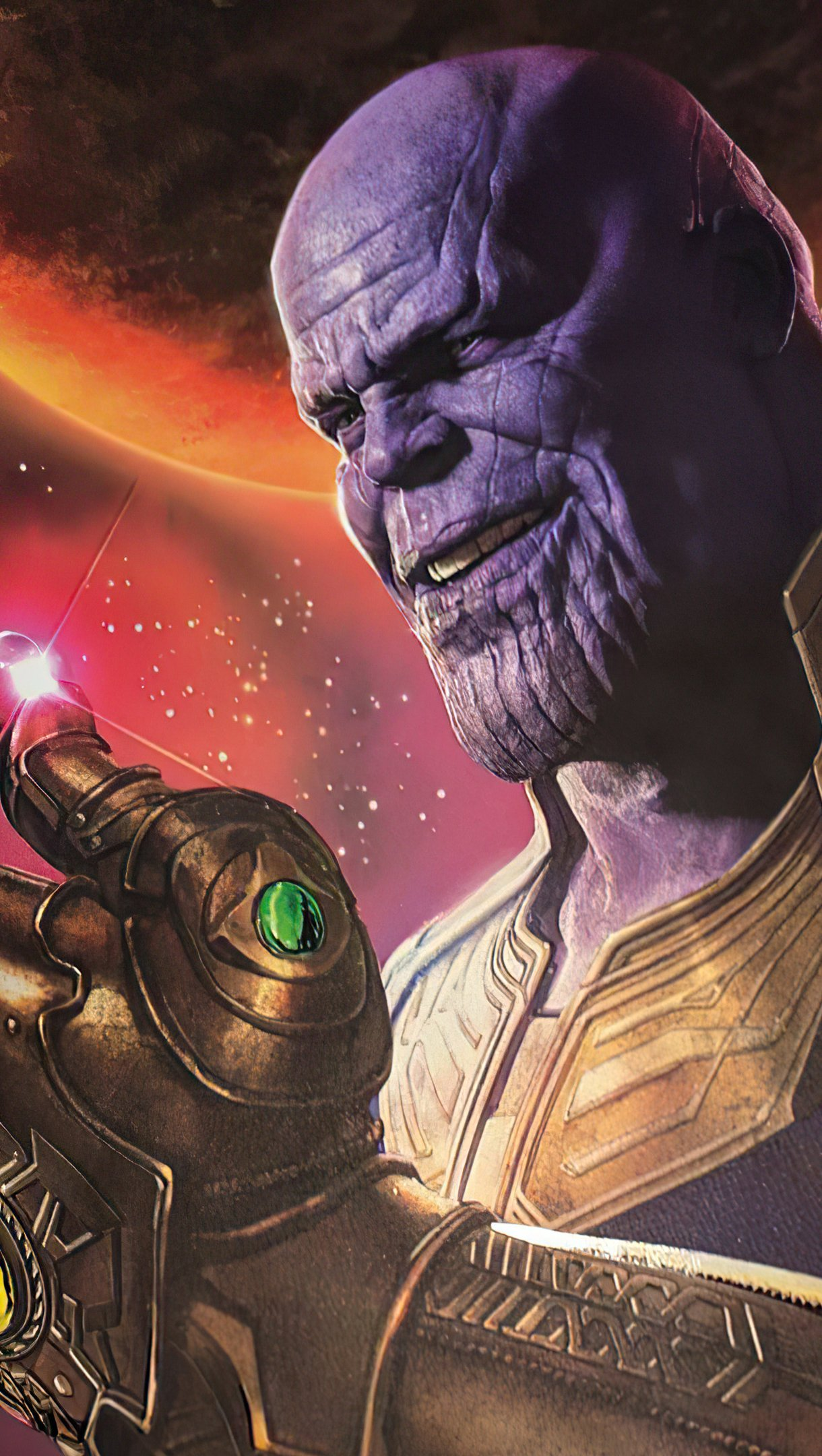Wallpaper Thanos snaping fingers Vertical