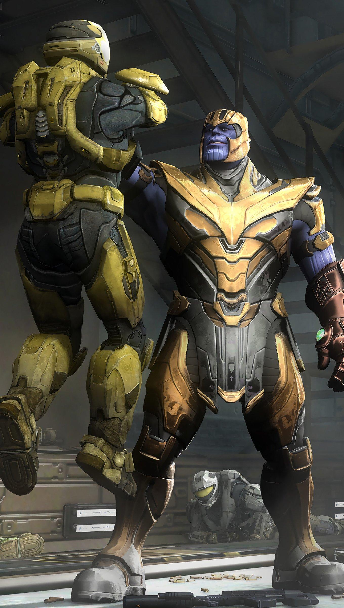 Wallpaper Thanos and Halo Spartan Vertical