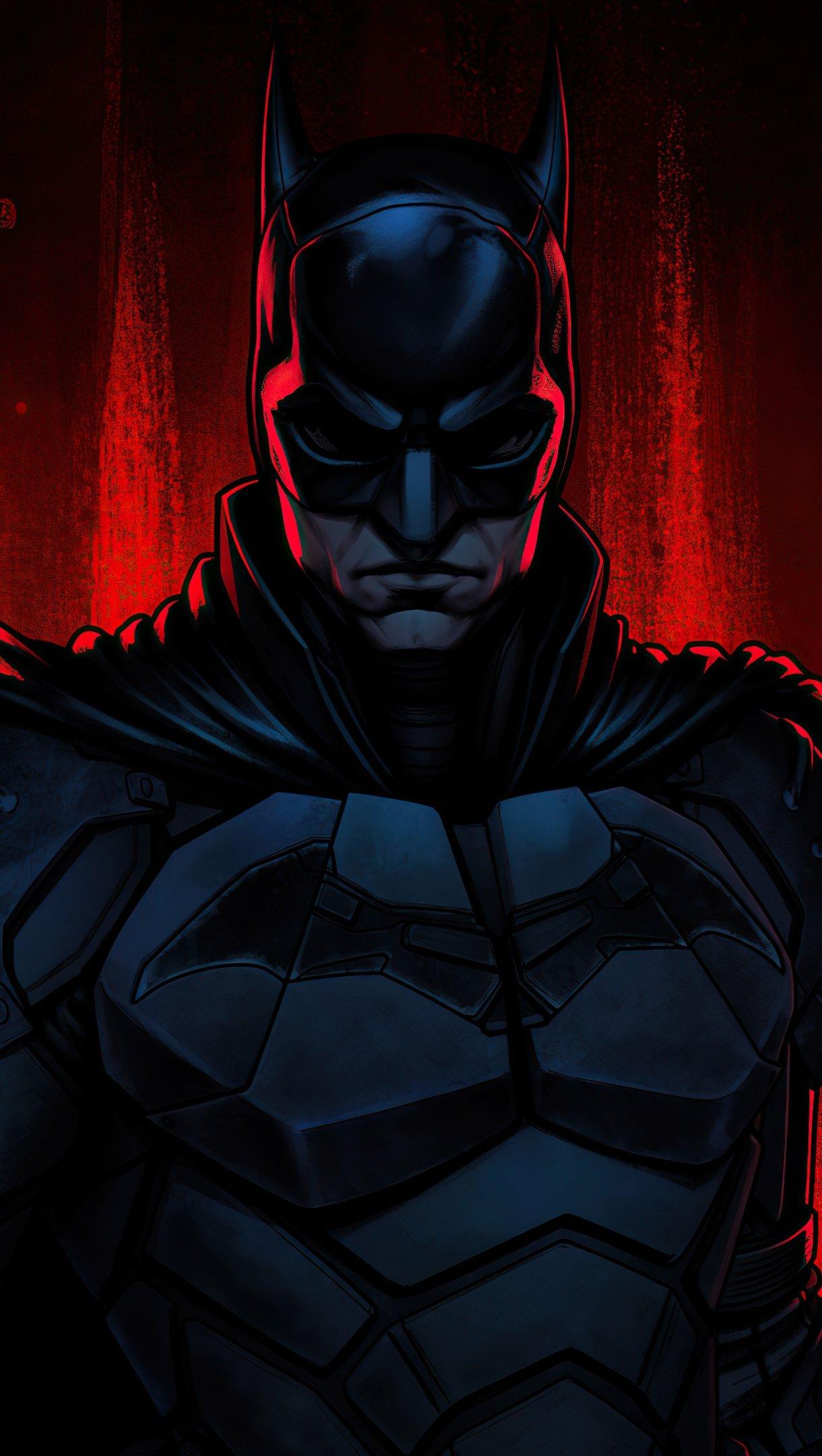 Fondos de pantalla The Batman con fondo rojo Vertical