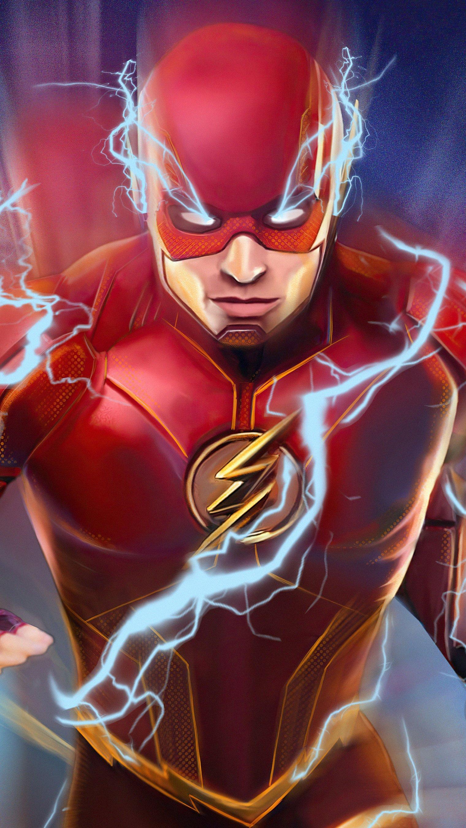 Fondos de pantalla The Flash con rayo azul Vertical