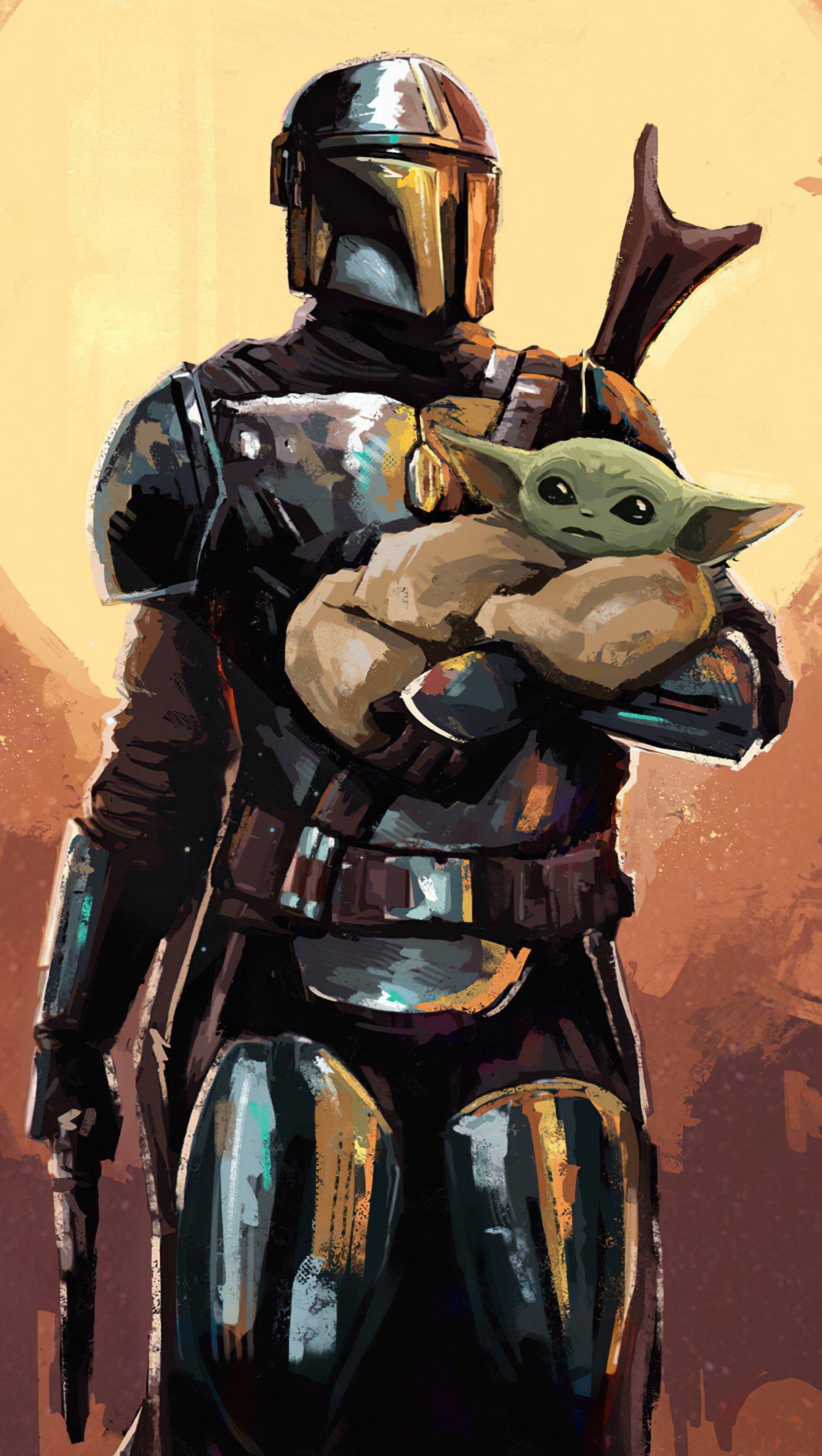 Fondos de pantalla The Manddalorian Yoda bebe Arte Digital Vertical