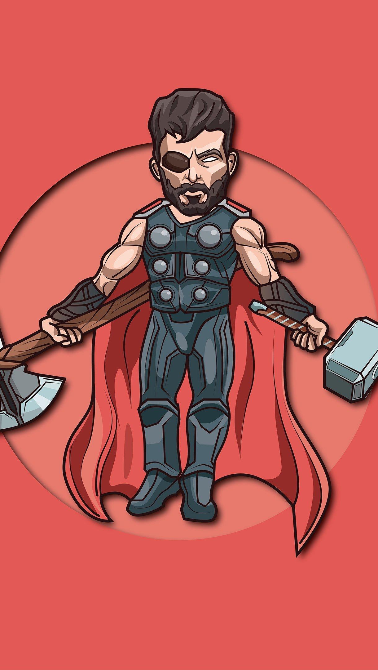 Fondos de pantalla Thor Dios del rayo ilustración minimalista Vertical