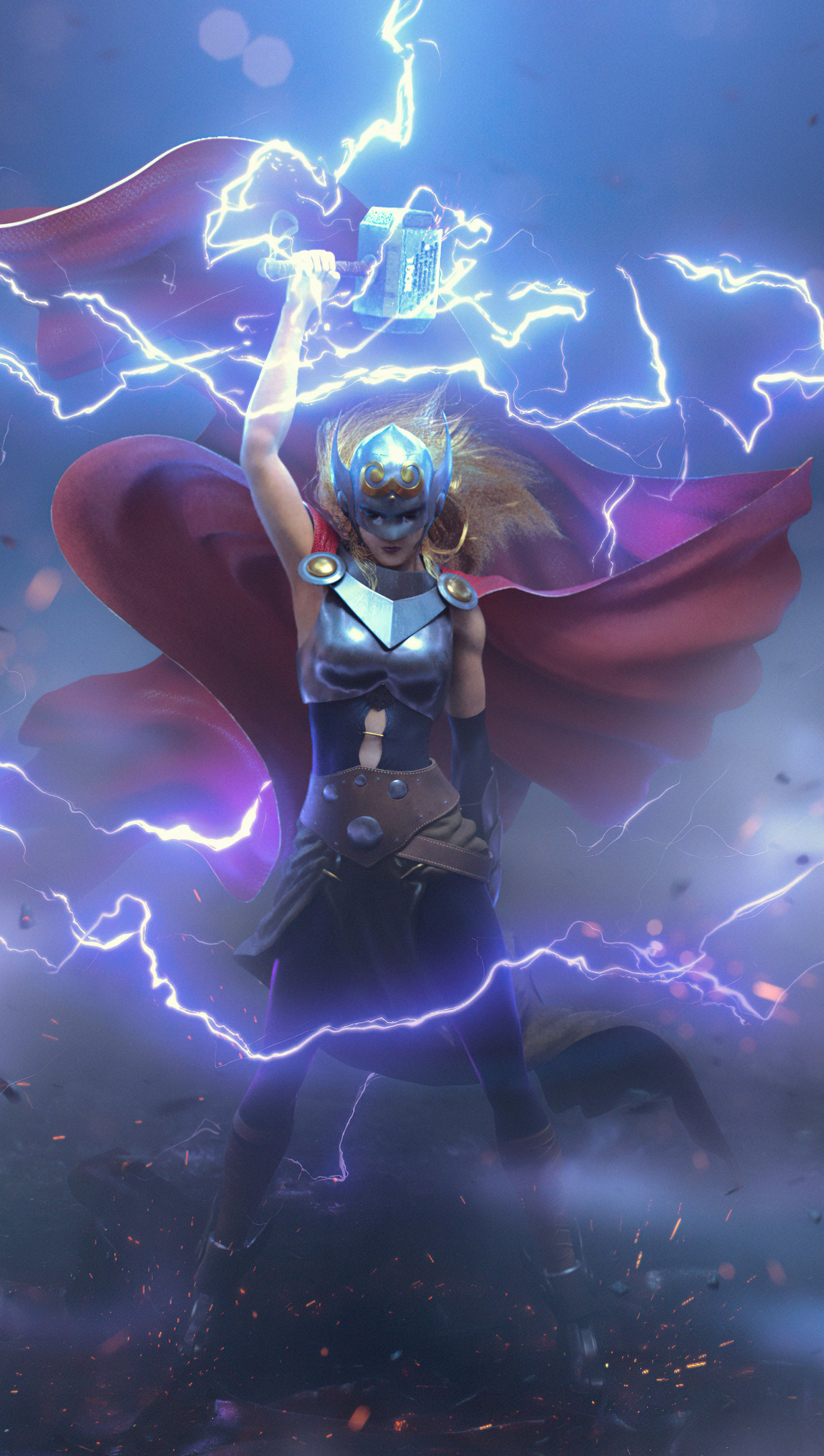 Wallpaper Thor in the middle of thunder Vertical