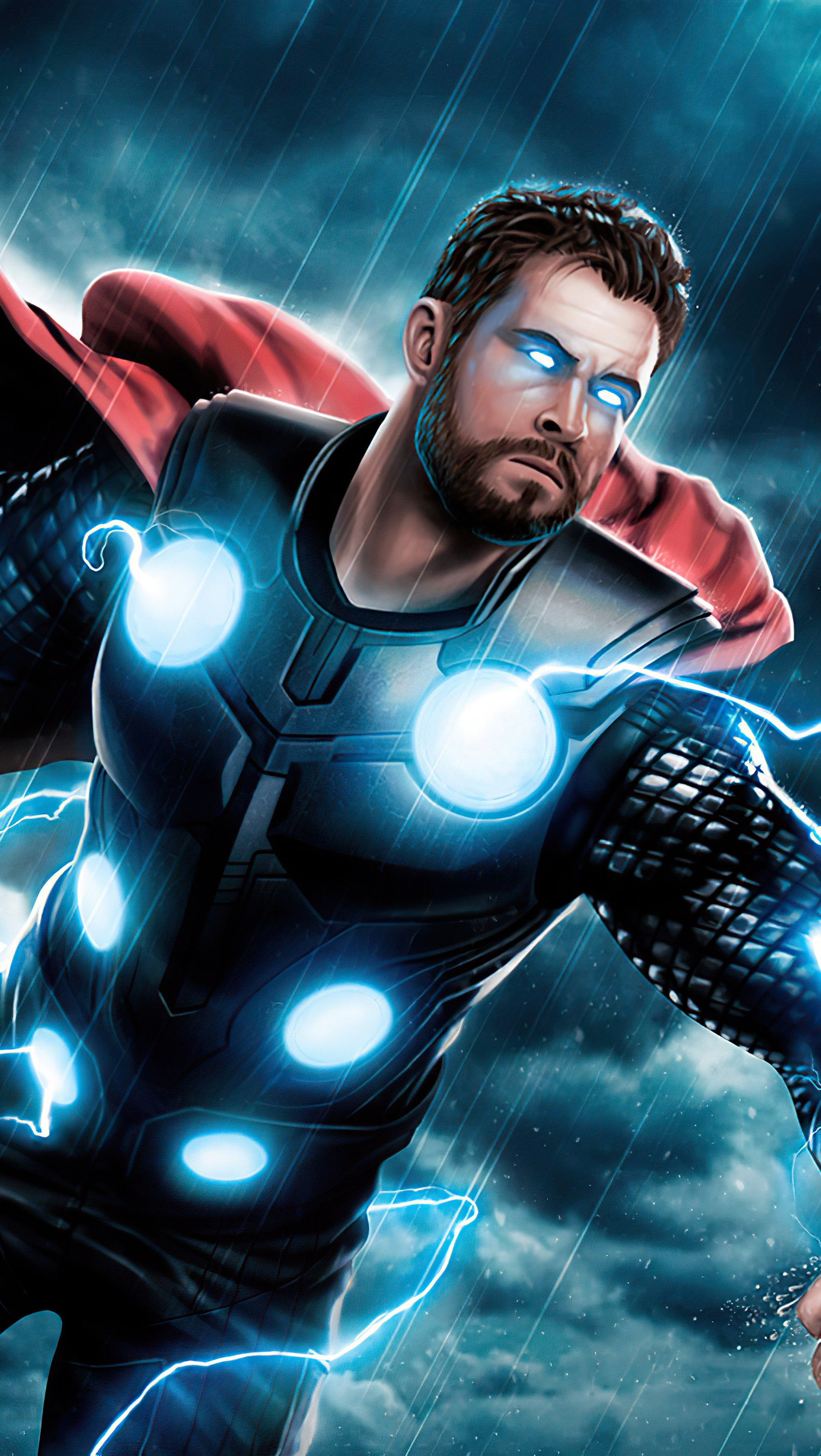 Wallpaper Thor iluminated by thunder Vertical