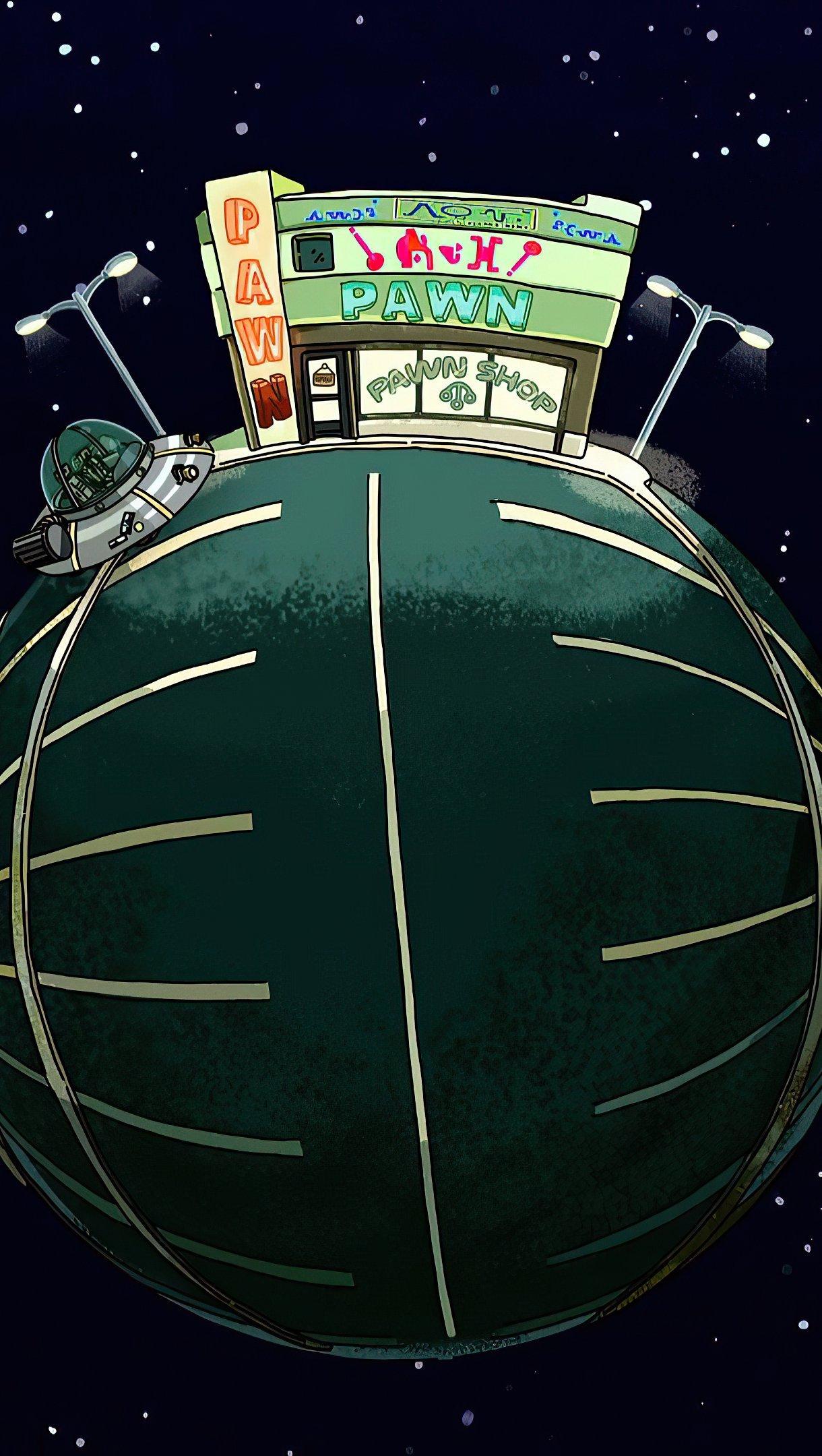 Fondos de pantalla Tienda Pawn de Rick y Morty Vertical