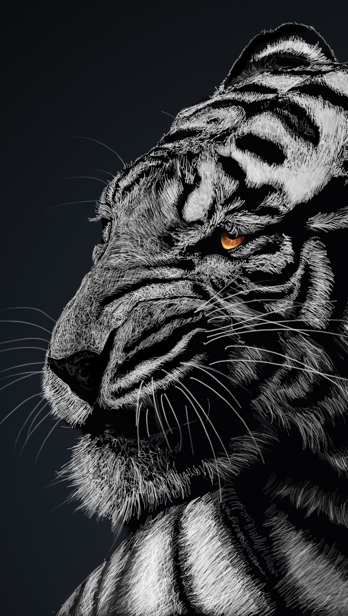 Wallpaper White Tiger Vertical