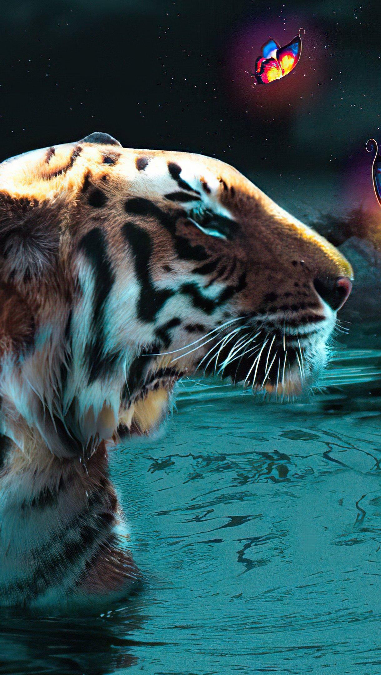 Fondos de pantalla Tigre con mariposas Vertical
