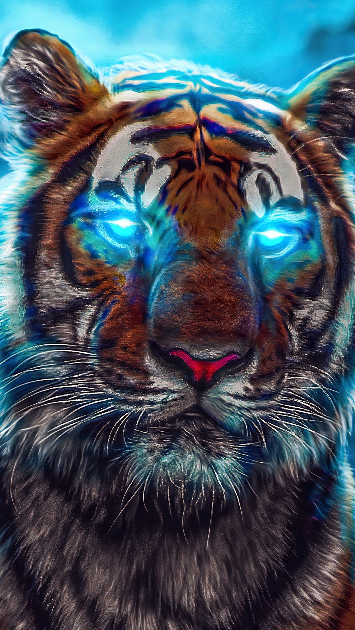 Fondos de pantalla Tigre con ojos iluminados de azul Vertical
