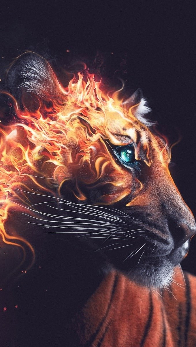 Wallpaper Fire Tiger Vertical