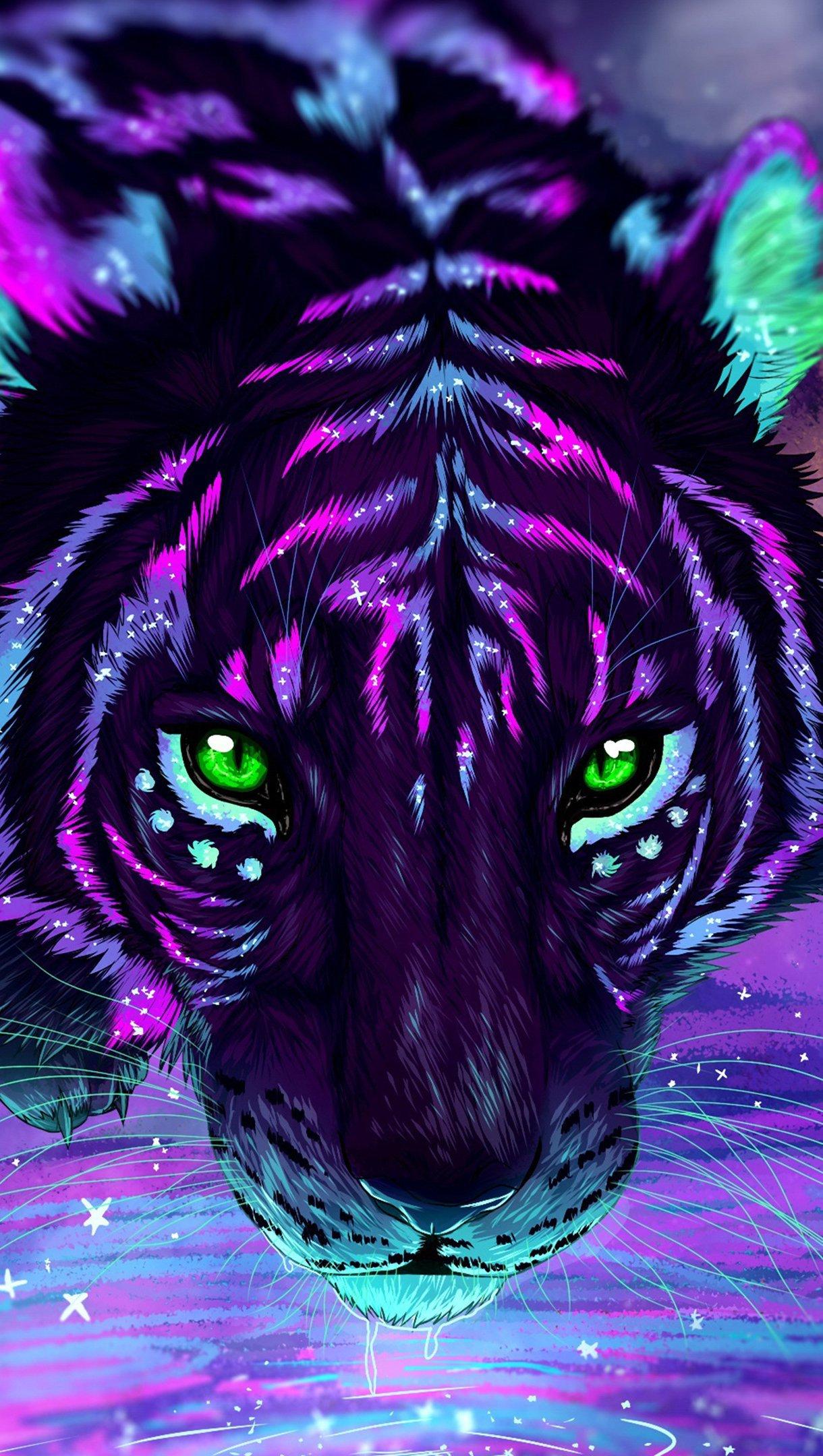 Fondos de pantalla Tigre de neón Artwork Vertical