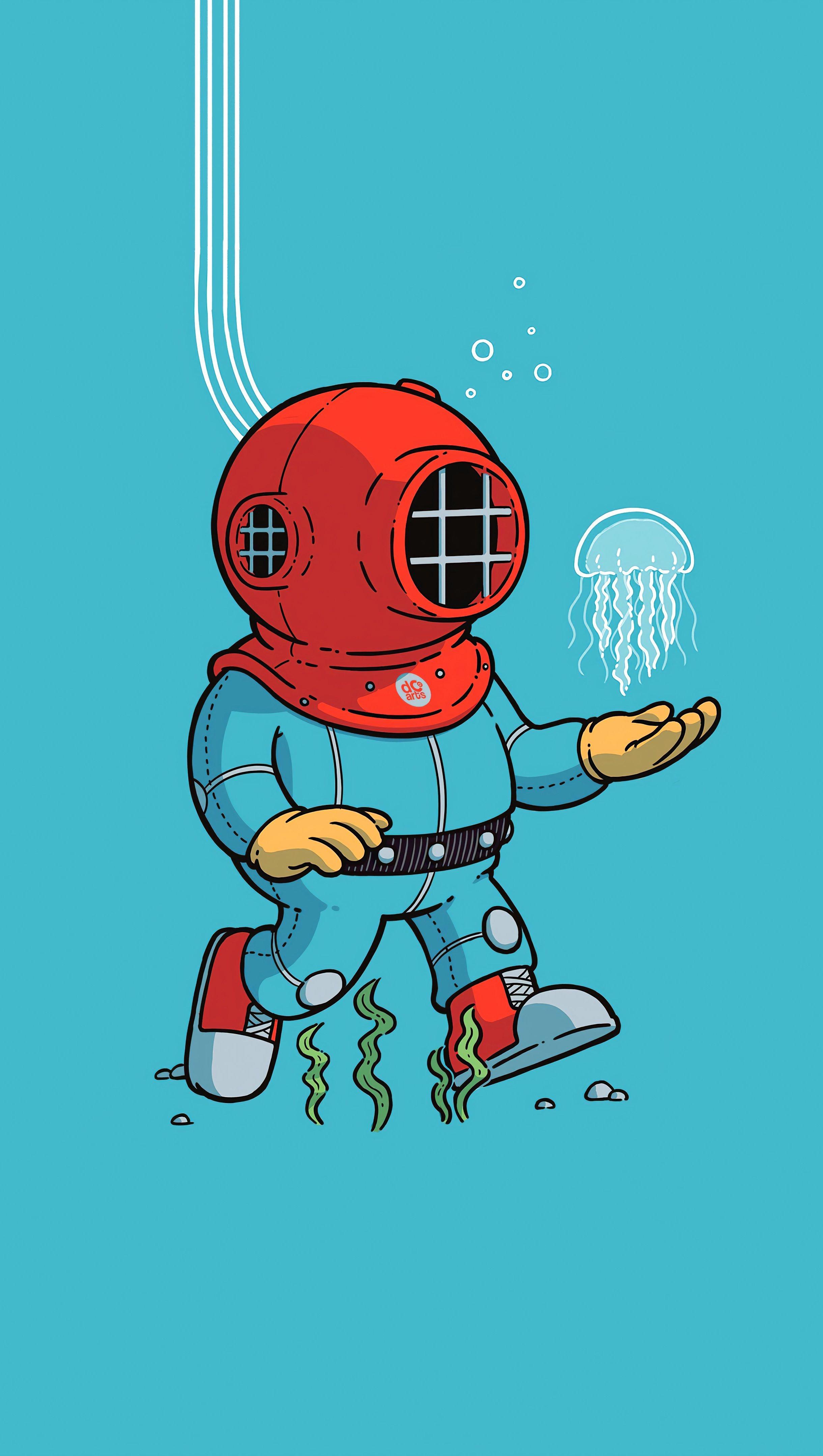Wallpaper Diving suit Minimalist Illustration Vertical
