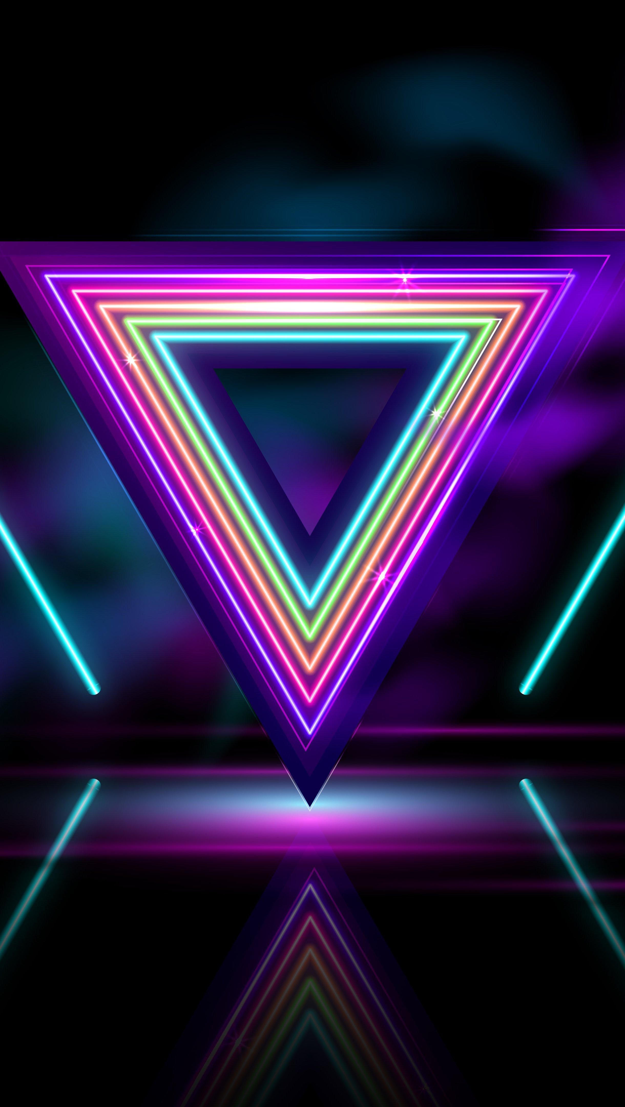 Fondos de pantalla Triangulo Neon Abstracto Vertical