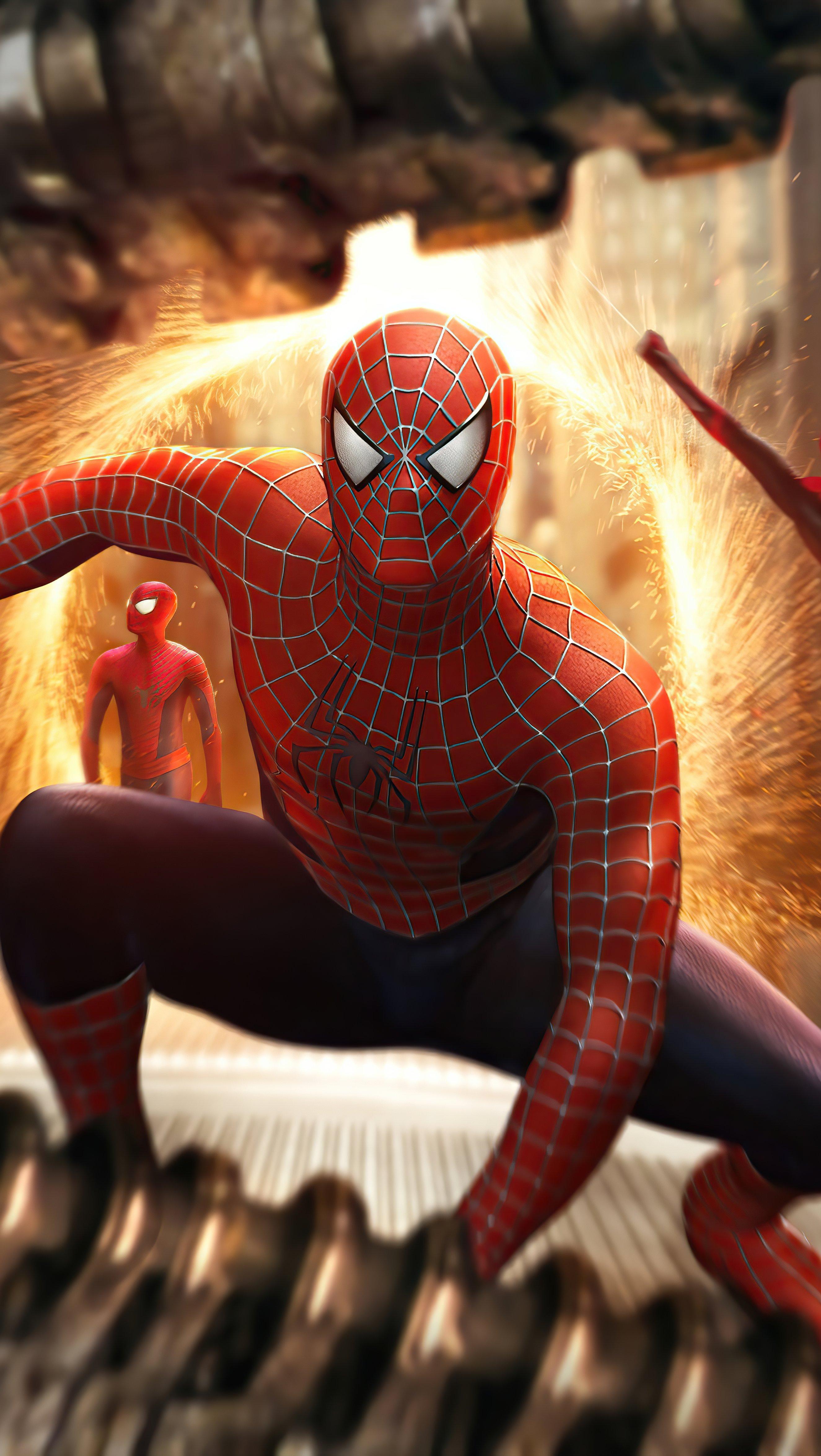 Wallpaper Triple Spider Man Vertical
