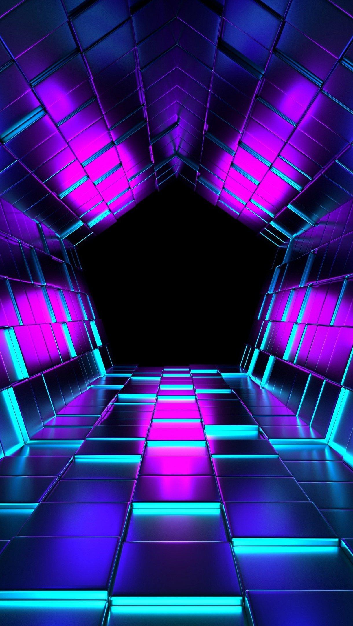 Wallpaper Pentagon tunnel with neón lights Vertical