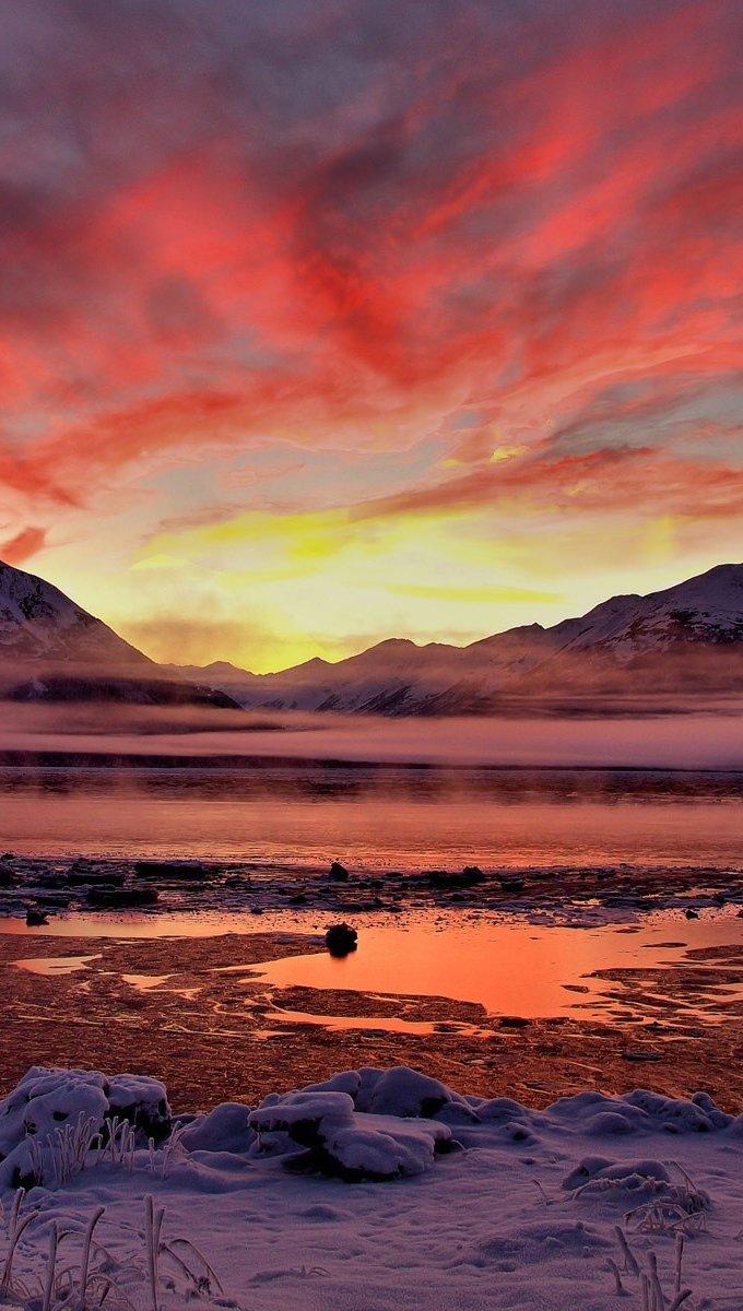 Fondos de pantalla Un atardecer en Alaska Vertical
