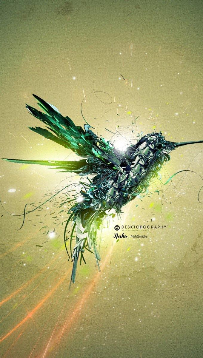 Fondos de pantalla Un ave verde en vuelo Vertical