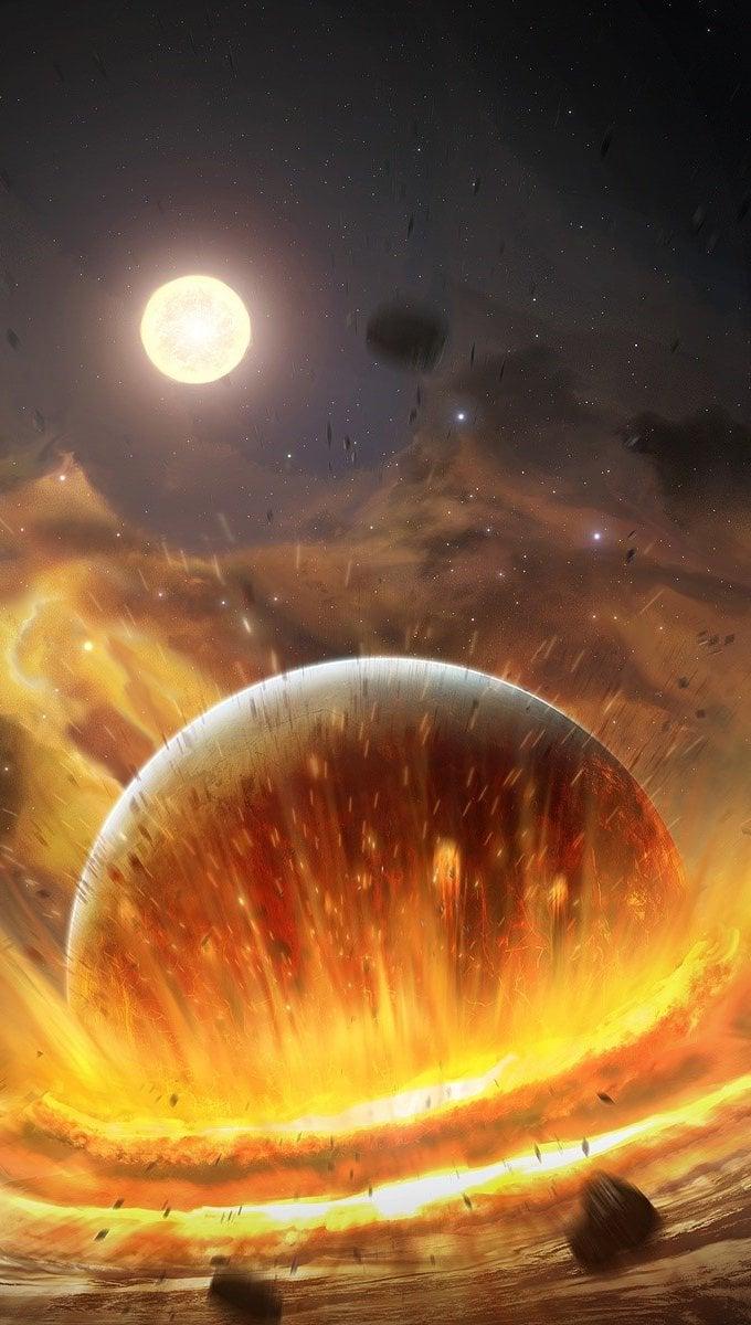 Fondos de pantalla Un planeta chocando Vertical