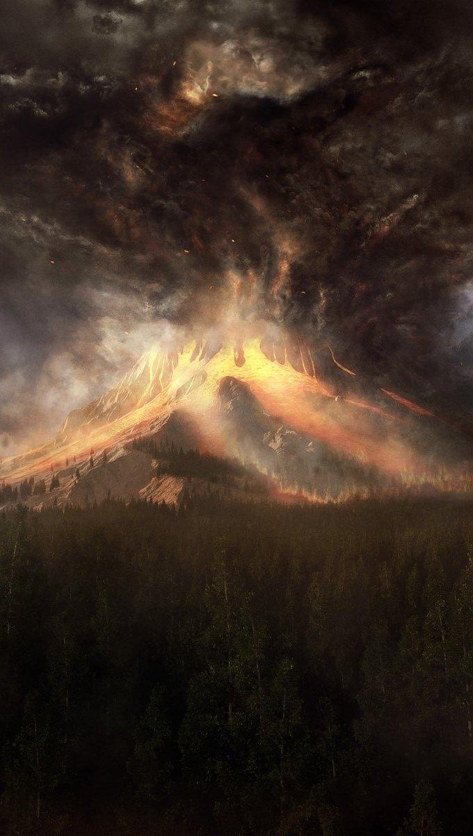 Fondos de pantalla Un volcán y humo Vertical