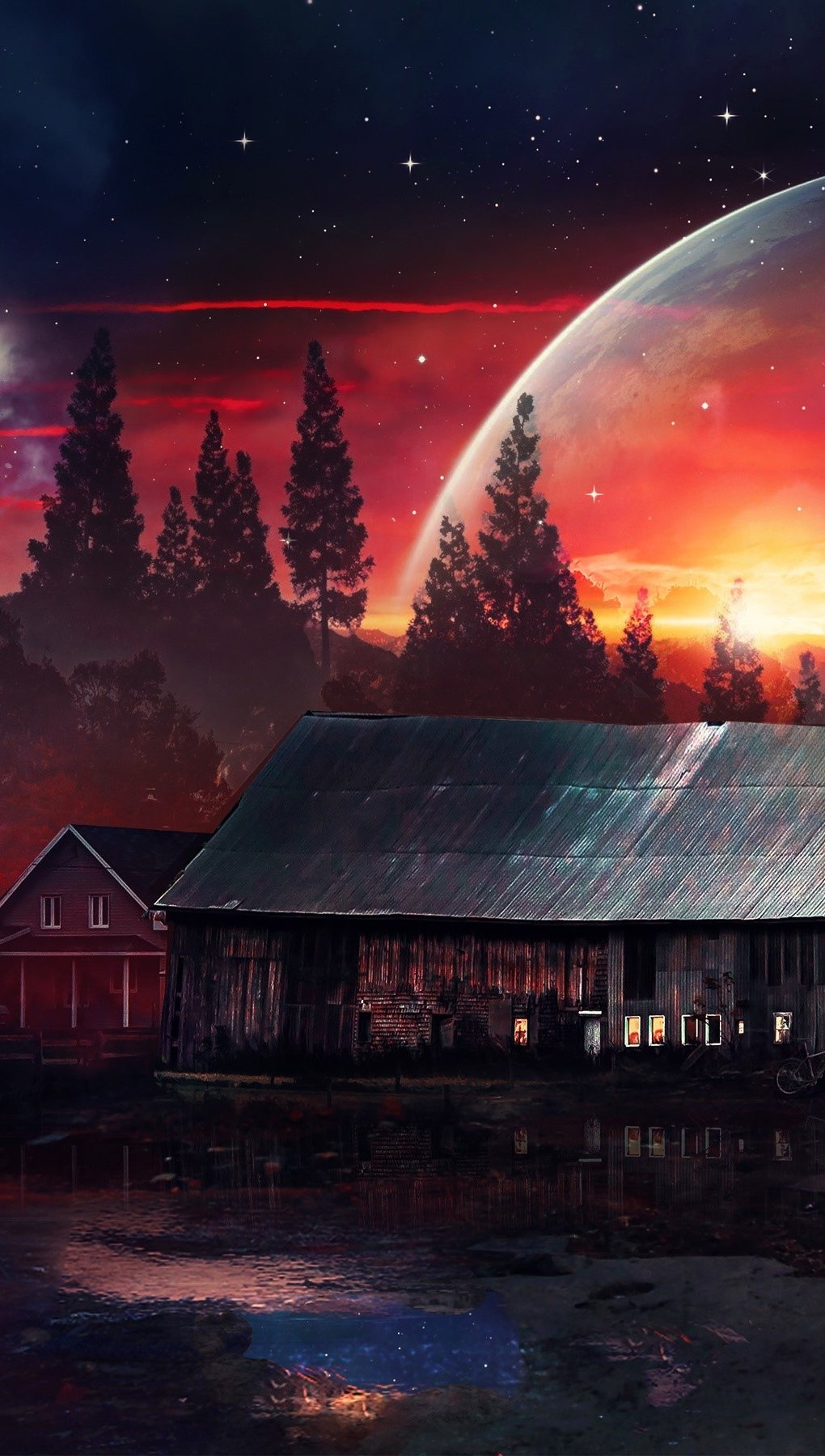 Wallpaper A house on a distant planet Vertical