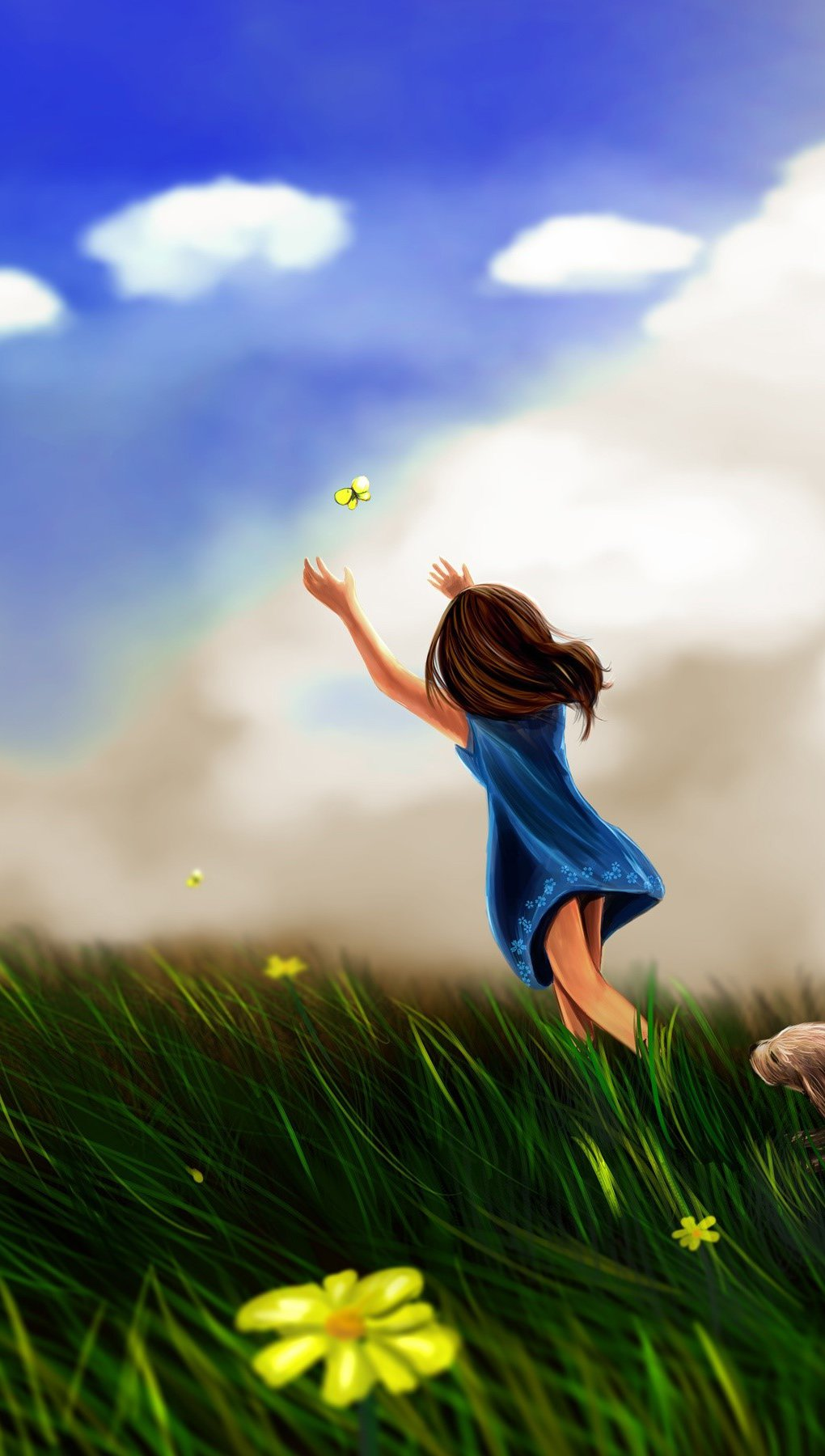 Wallpaper A girl chasing a butterfly Vertical