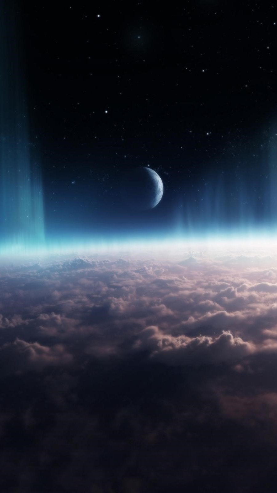 Wallpaper Universe - Space with clouds Vertical