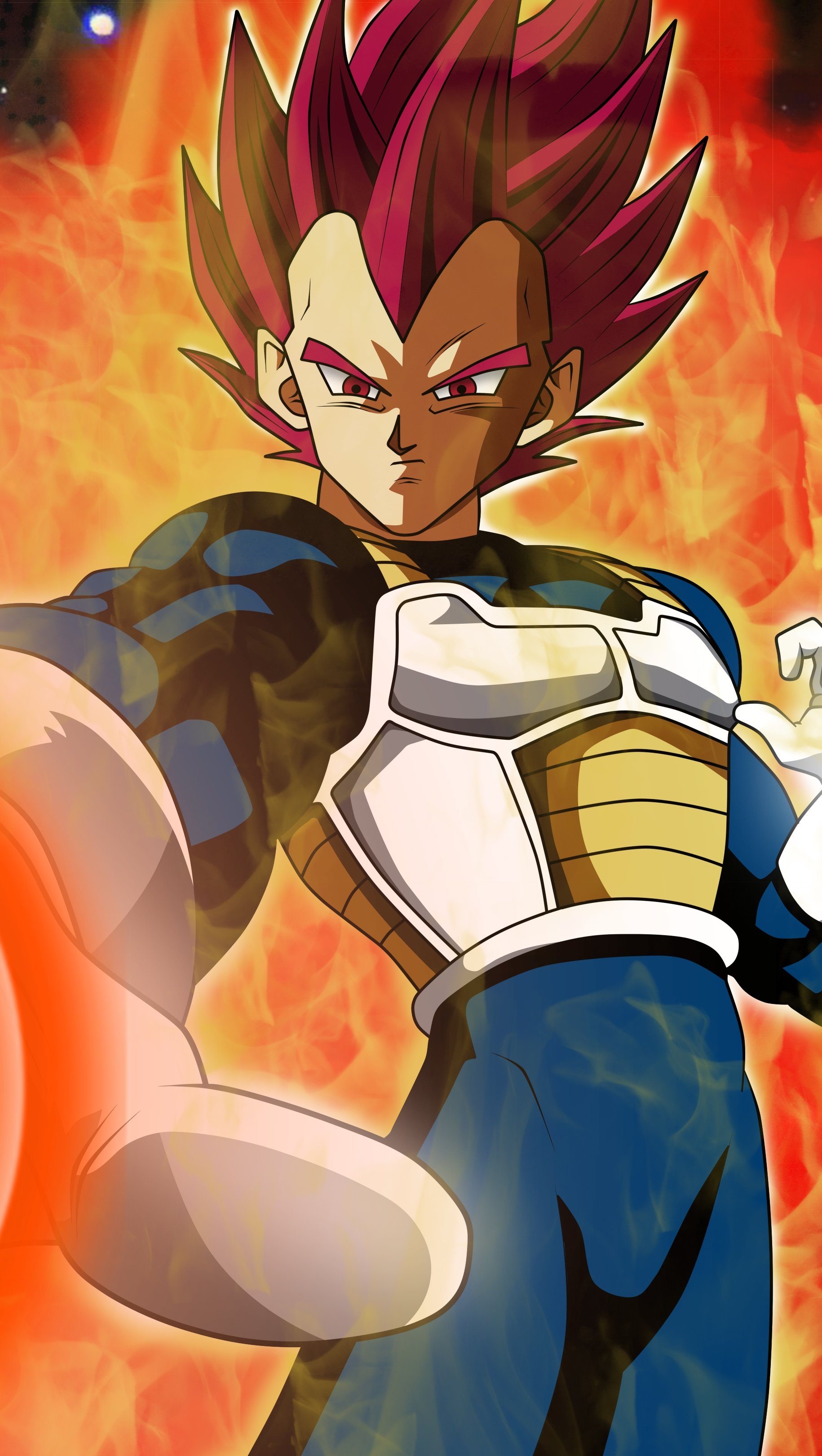 Anime Wallpaper Vegeta SSJG Super Saiyan God from Dragon Ball Vertical