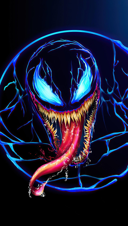 Wallpaper Venom Neon Design Vertical
