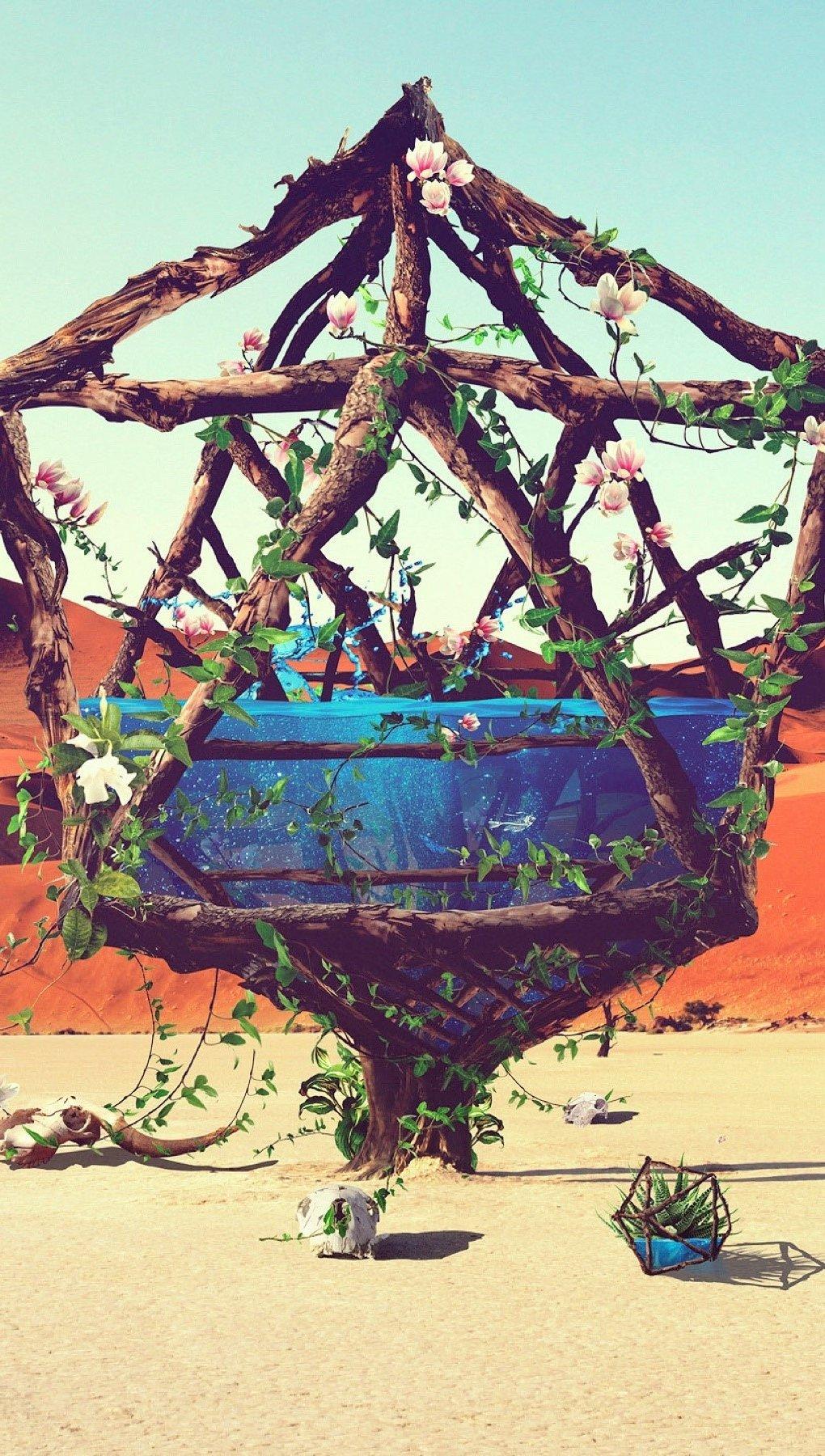 Wallpaper Life in the desert Vertical