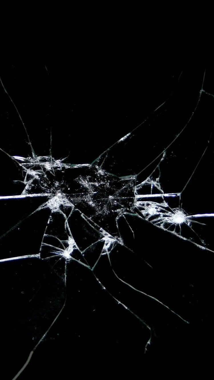 Fondos de pantalla Vidrio roto fondo negro Vertical