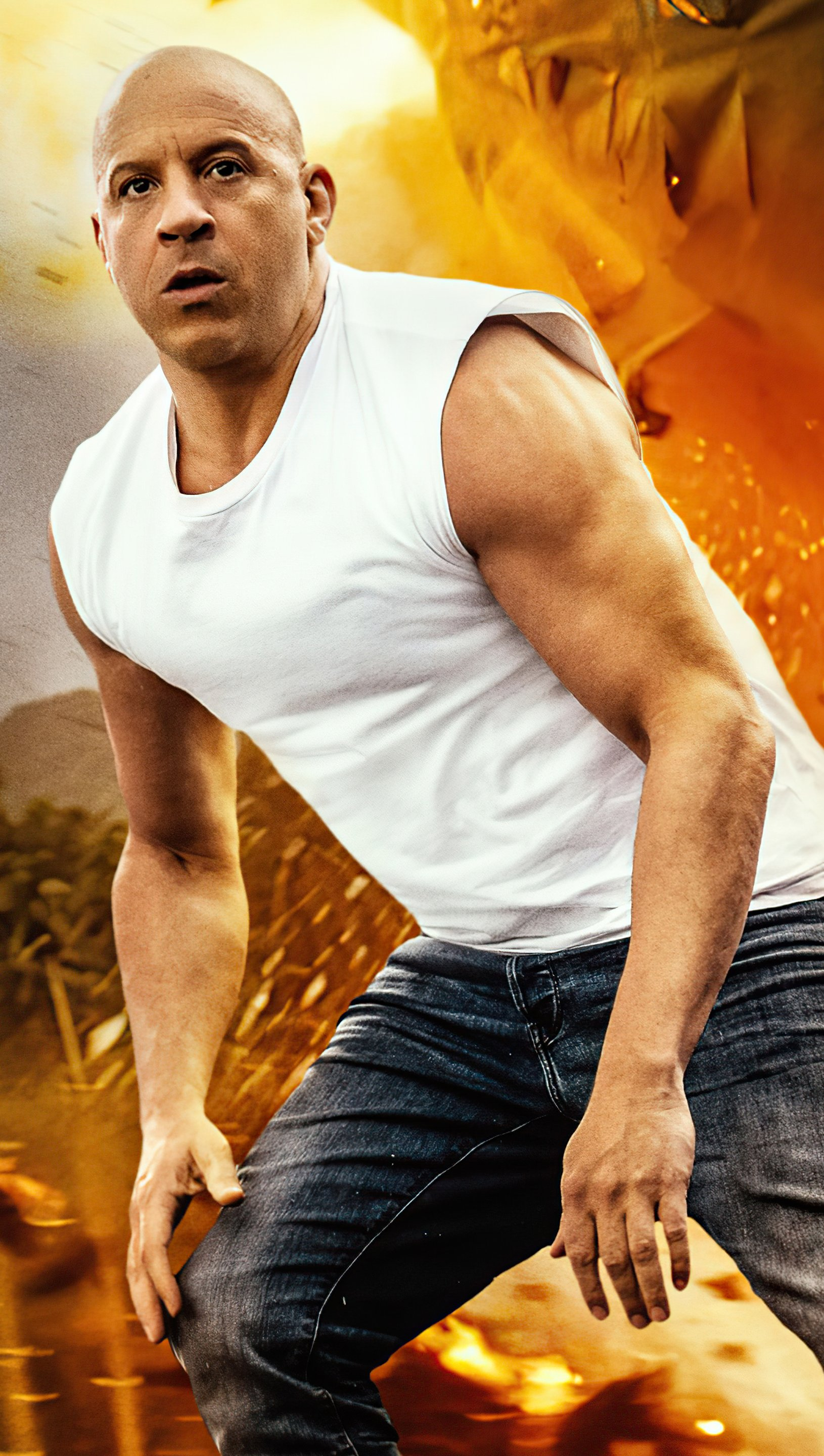 Wallpaper Vin Diesel as Dominic Toretto in Fast and furious 9 2021 Vertical