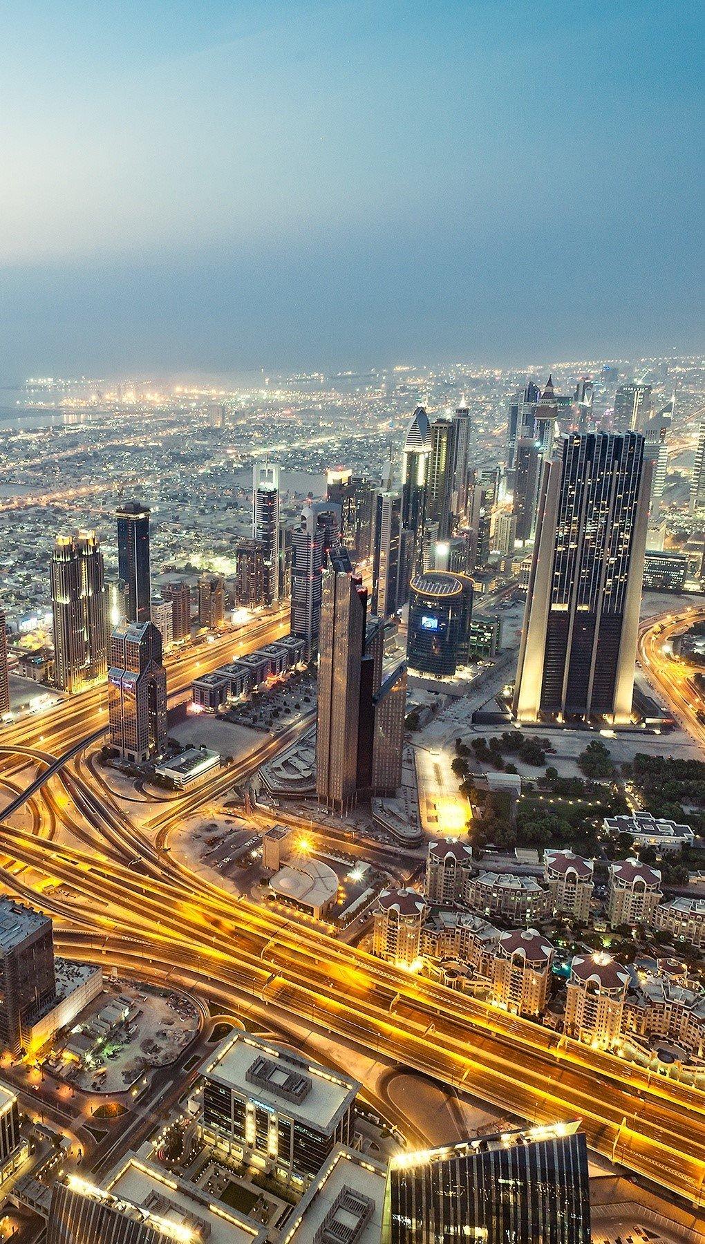 Wallpaper View from the Burj Khalifa skyscraper Vertical