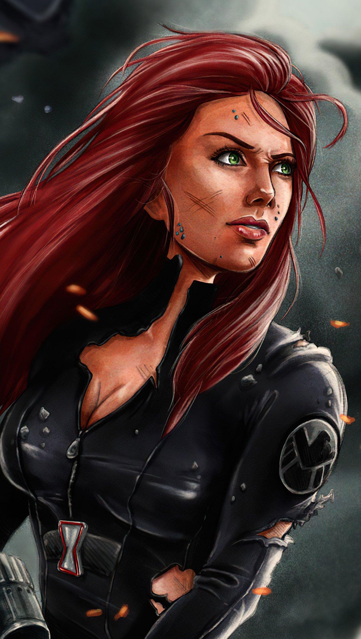 Fondos de pantalla Viuda Negra Ilustración Marvel Vertical