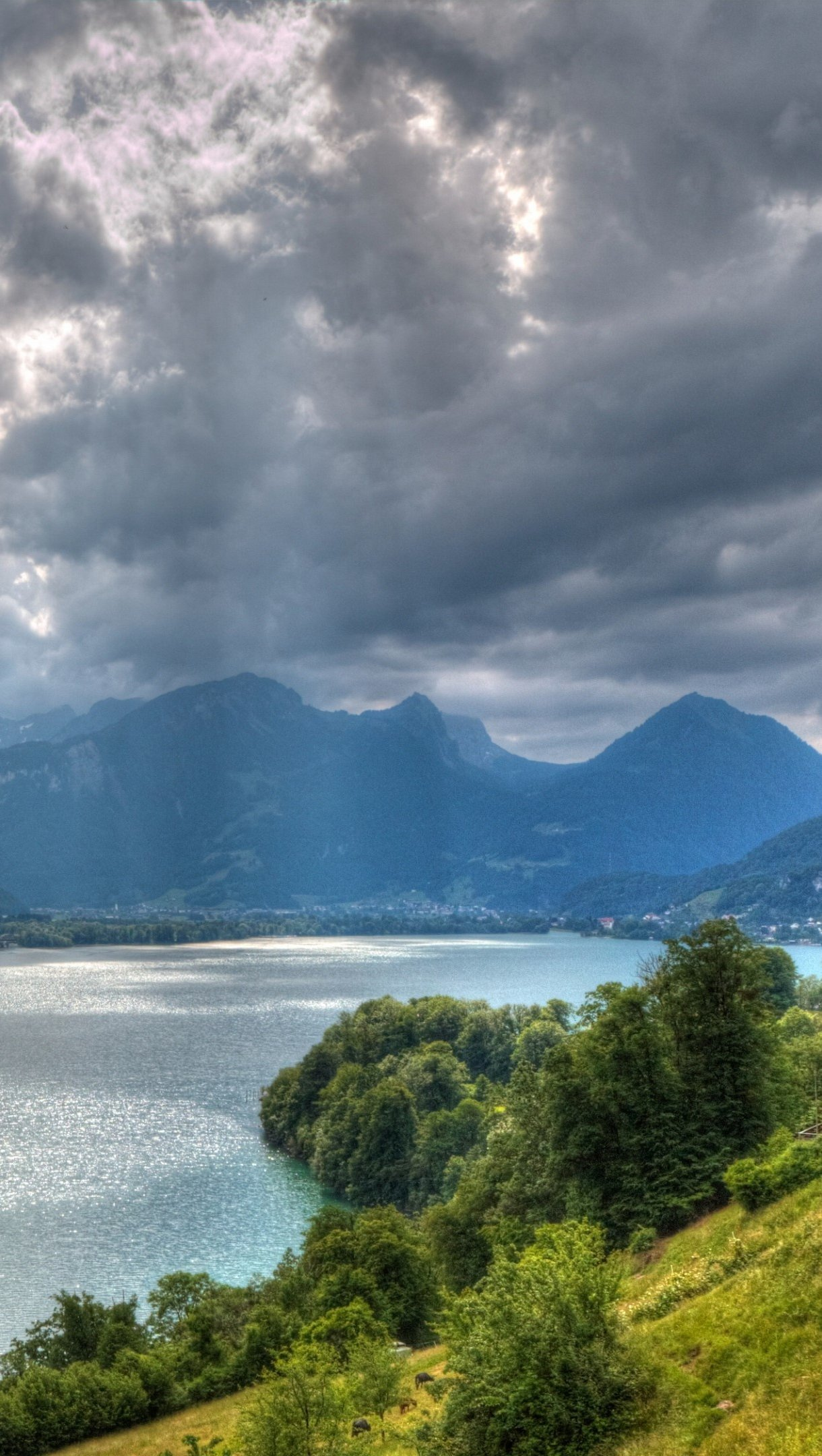 Wallpaper Walensee lake in Switzerland Vertical
