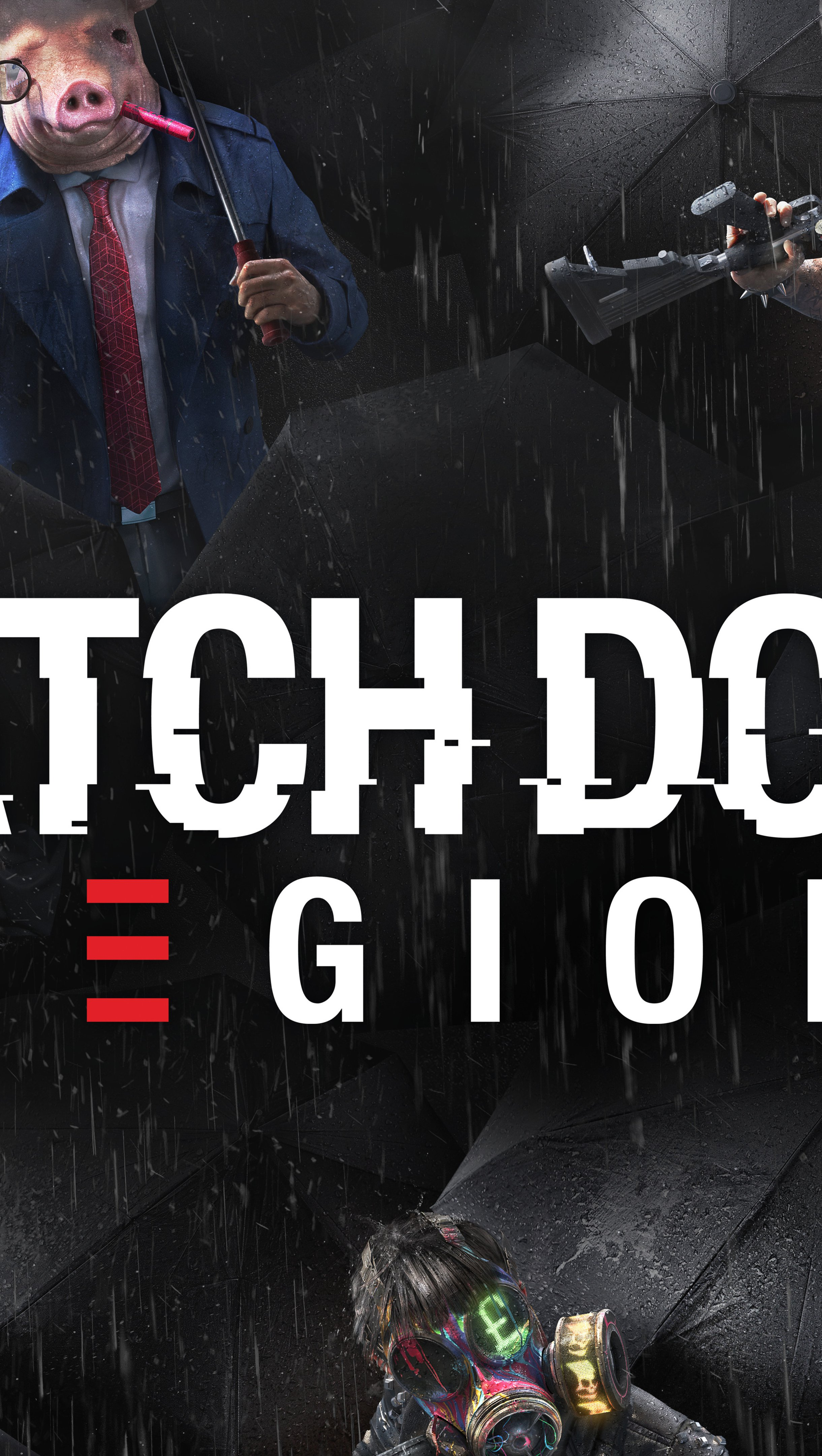 Wallpaper Watch Dogs Legion Characters Masks Vertical