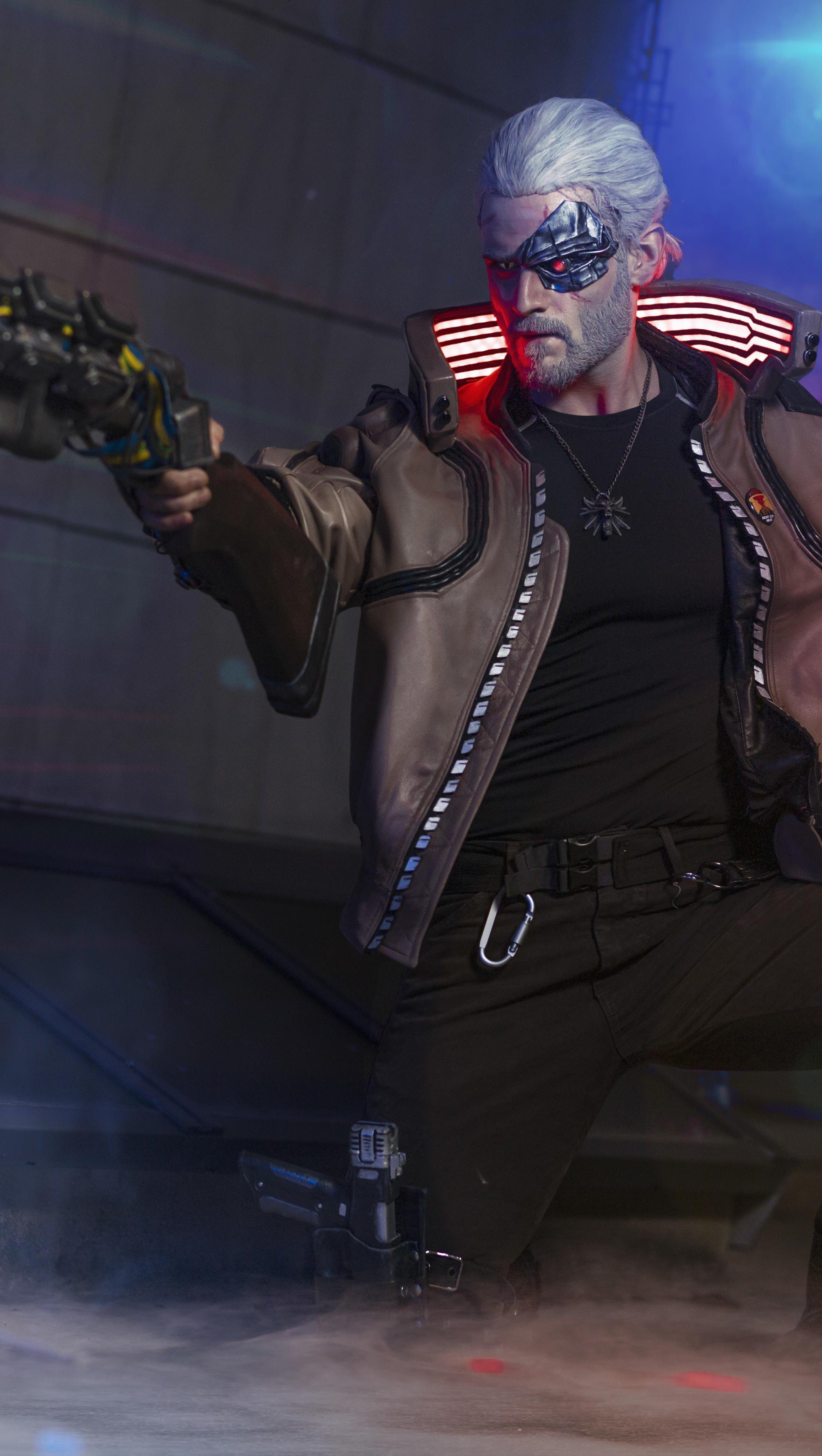 Wallpaper Witcher from Cyberpunk 2077 Vertical