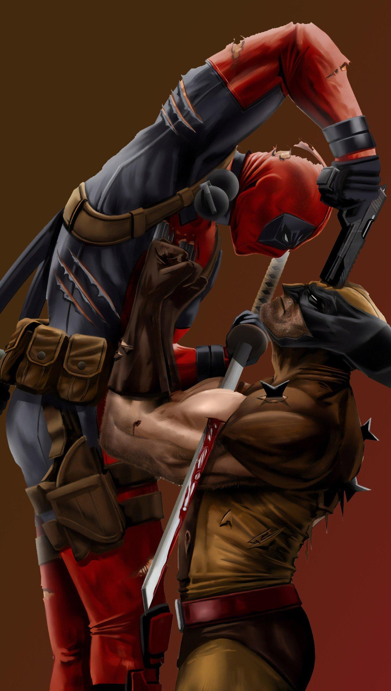 Wallpaper Wolverine vs Deadpool Vertical