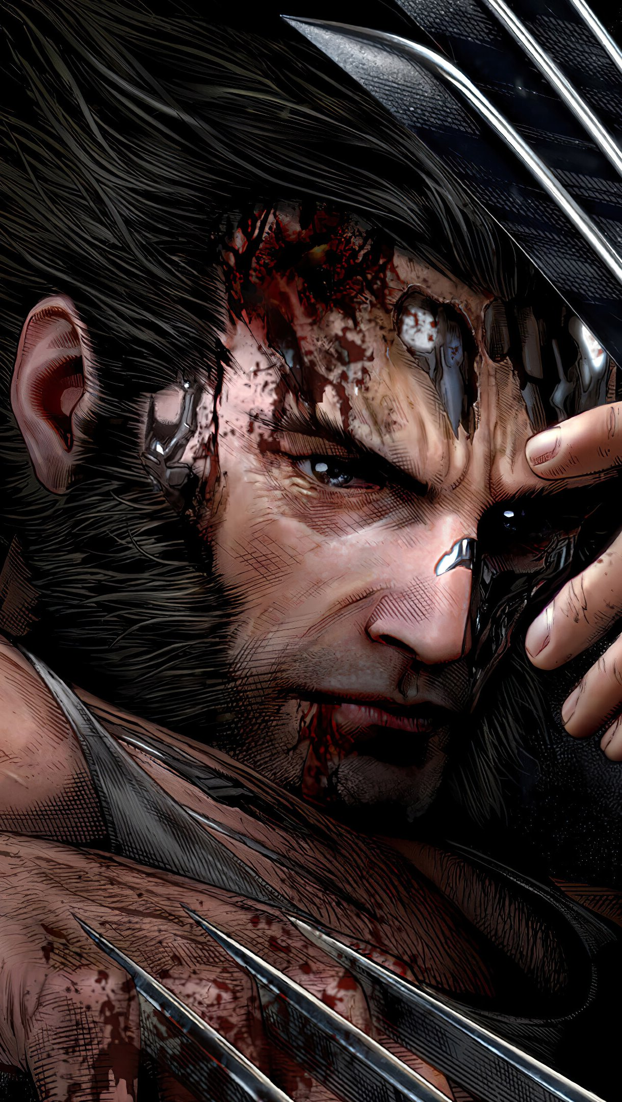 Wallpaper Wolverine Logan wounded Vertical