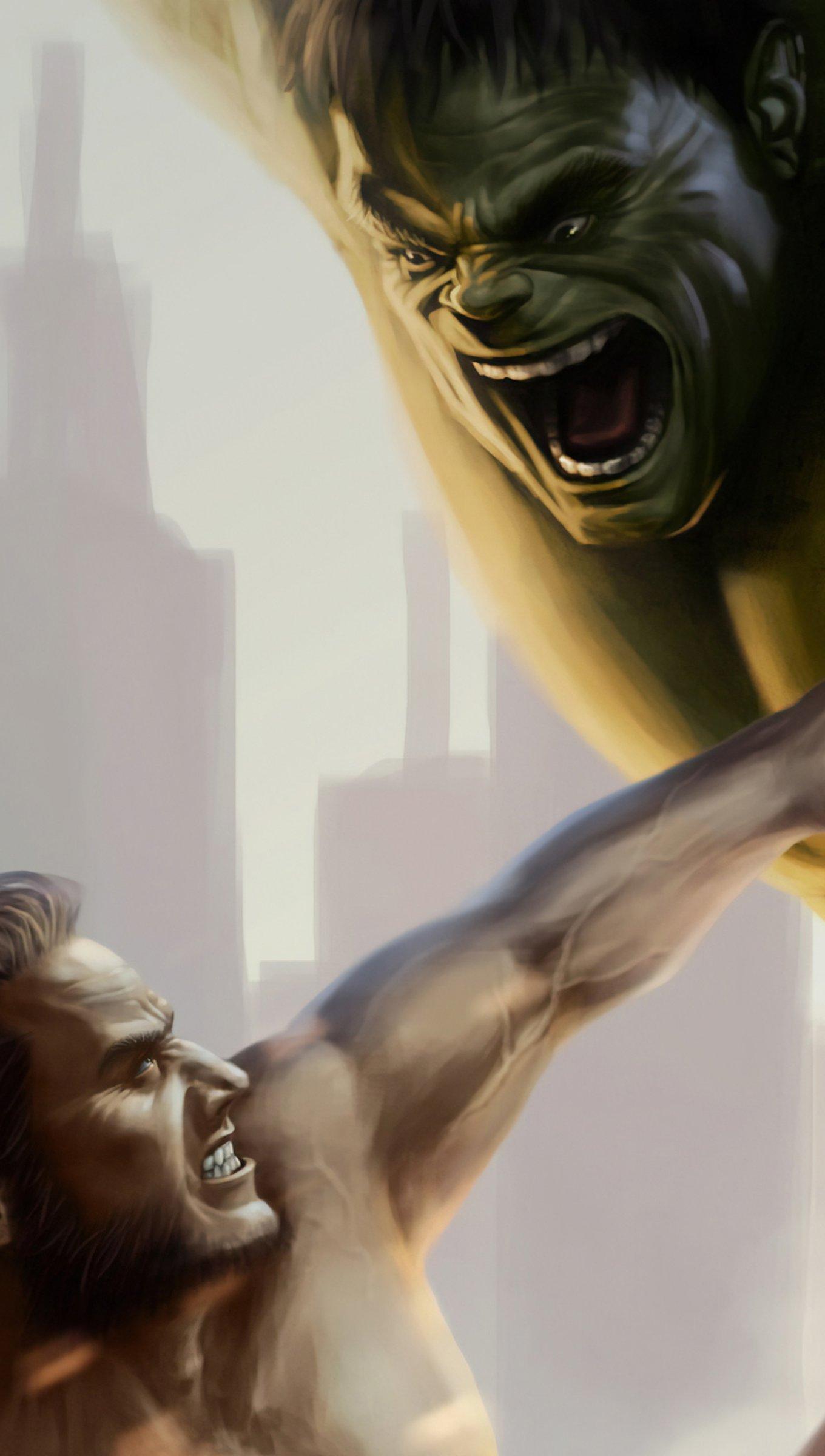 Fondos de pantalla Wolverine peleando con Hulk Vertical