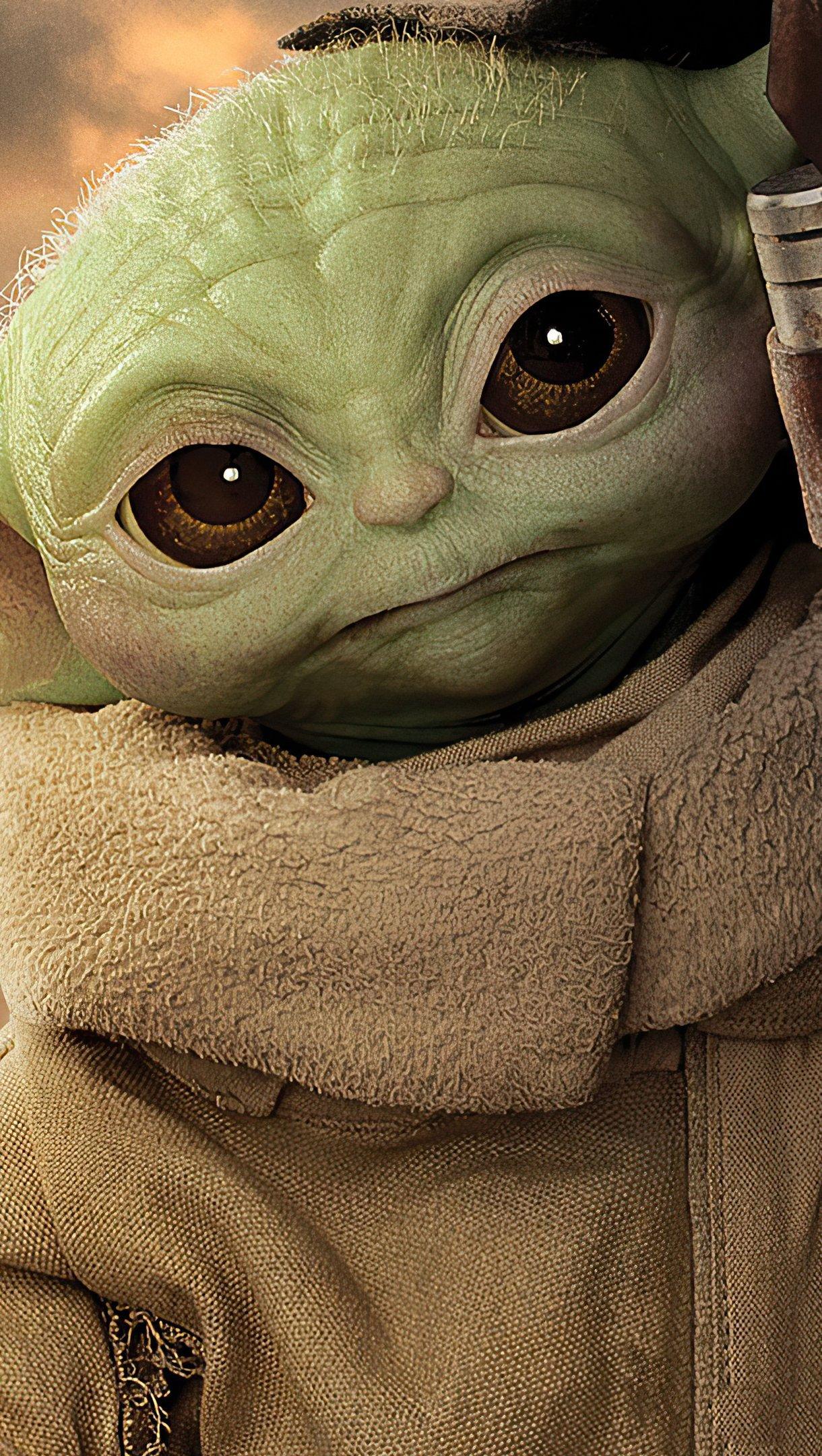 Fondos de pantalla Yoda bebé en El Mandaloriano Vertical