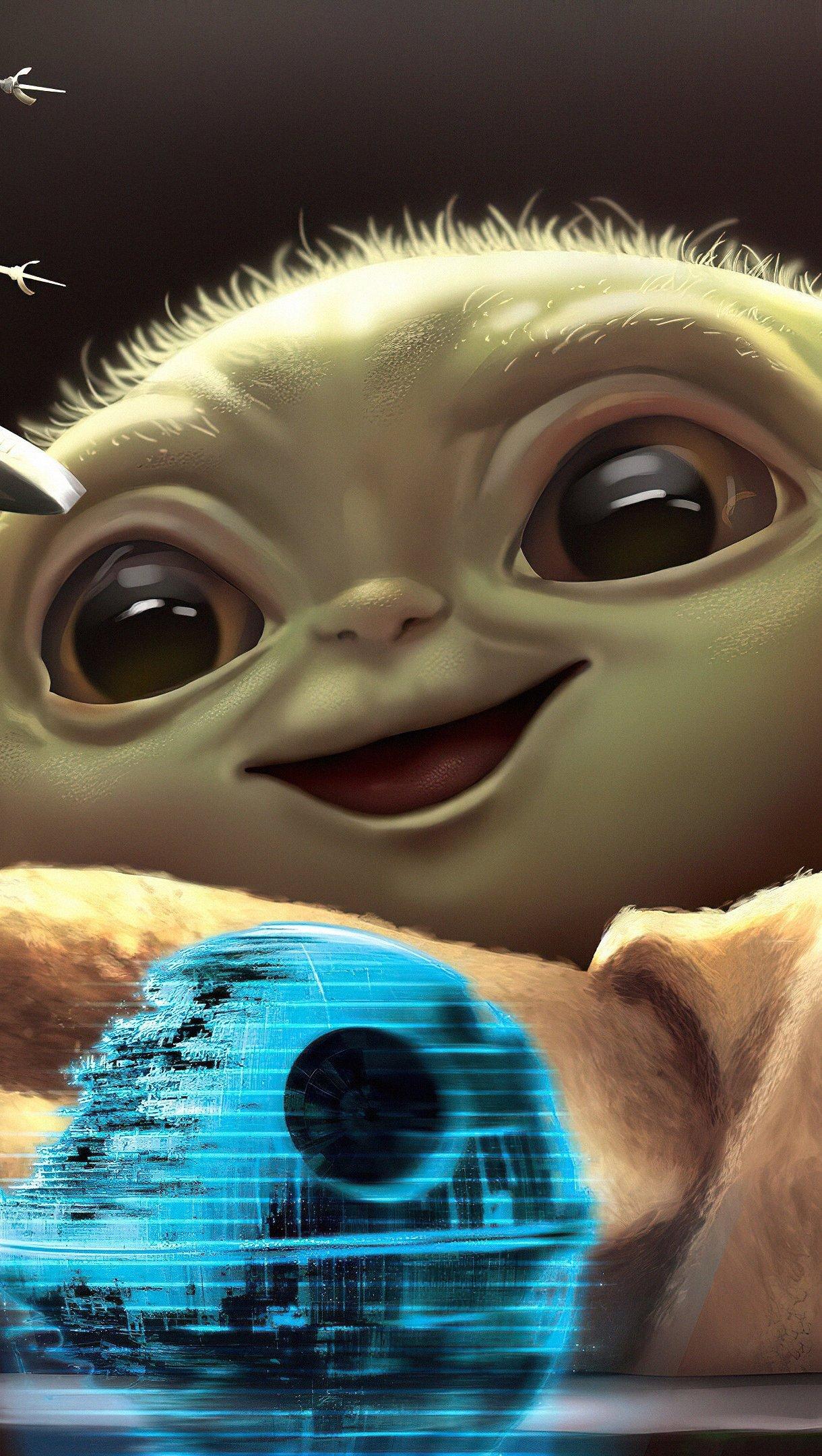 Fondos de pantalla Yoda bebé jugando Vertical