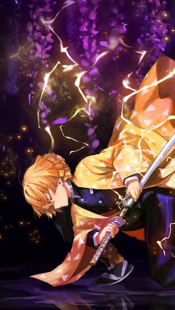 Fondos de pantalla Anime Zenitsu Agatsuma con espada de Guardianes de la Noche Vertical