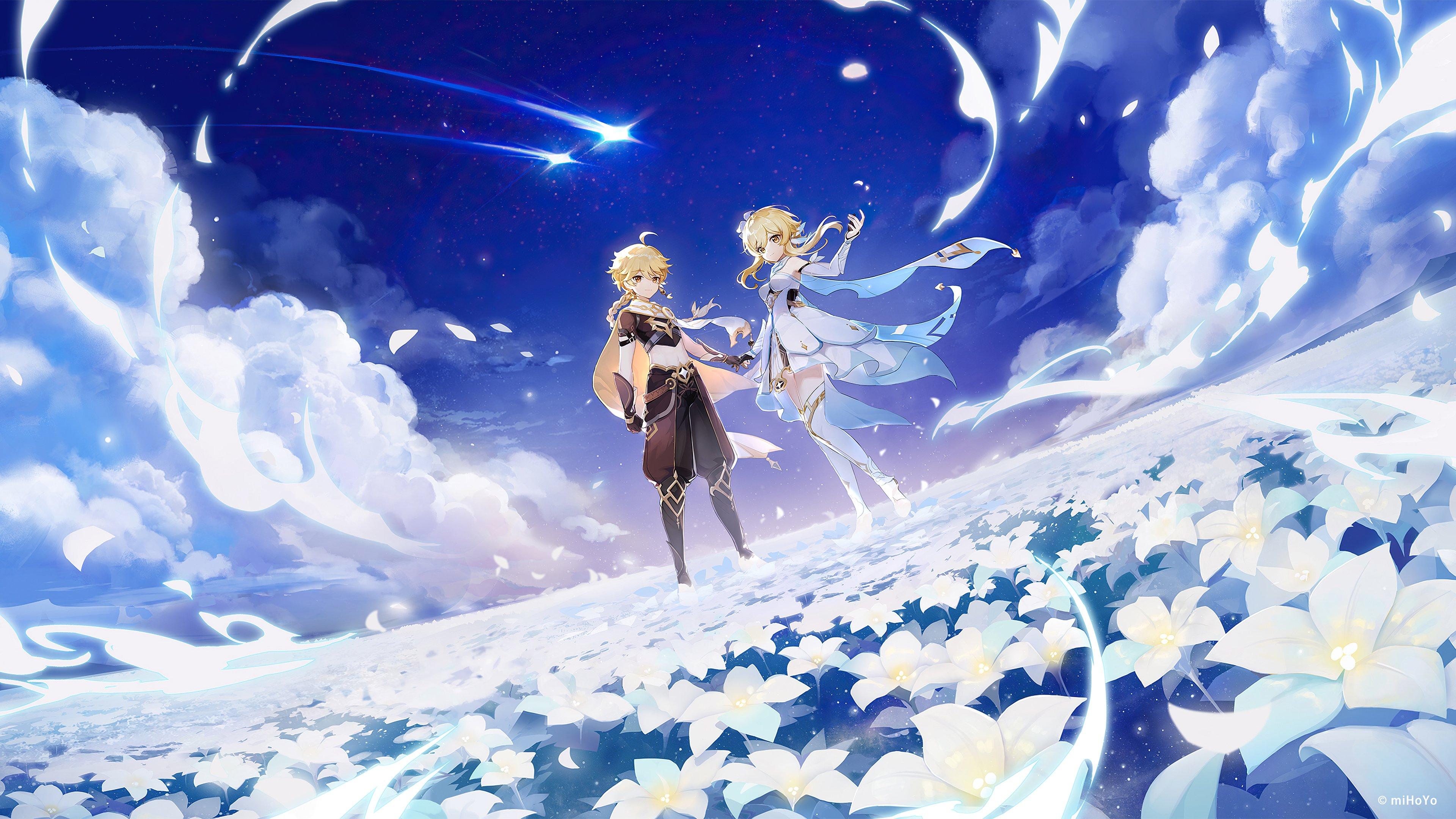 Fondos de pantalla Viajero Aether y Lumine from Genshin Impact