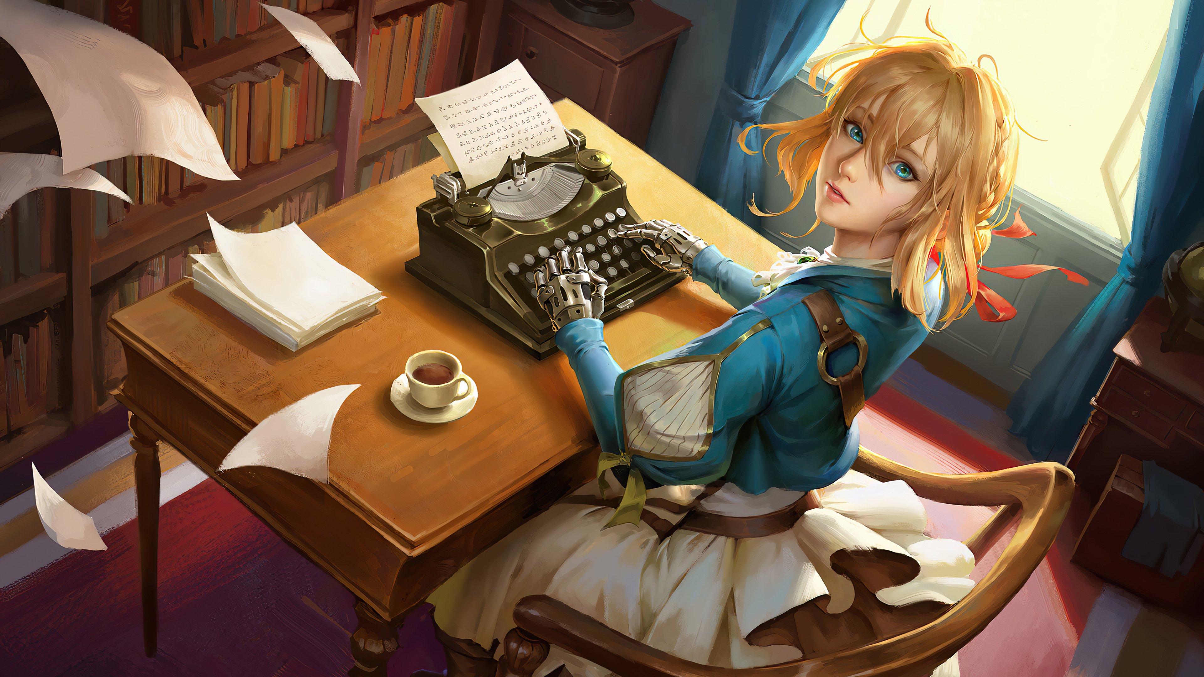 Anime Wallpaper Violet Evergarden with typewriter